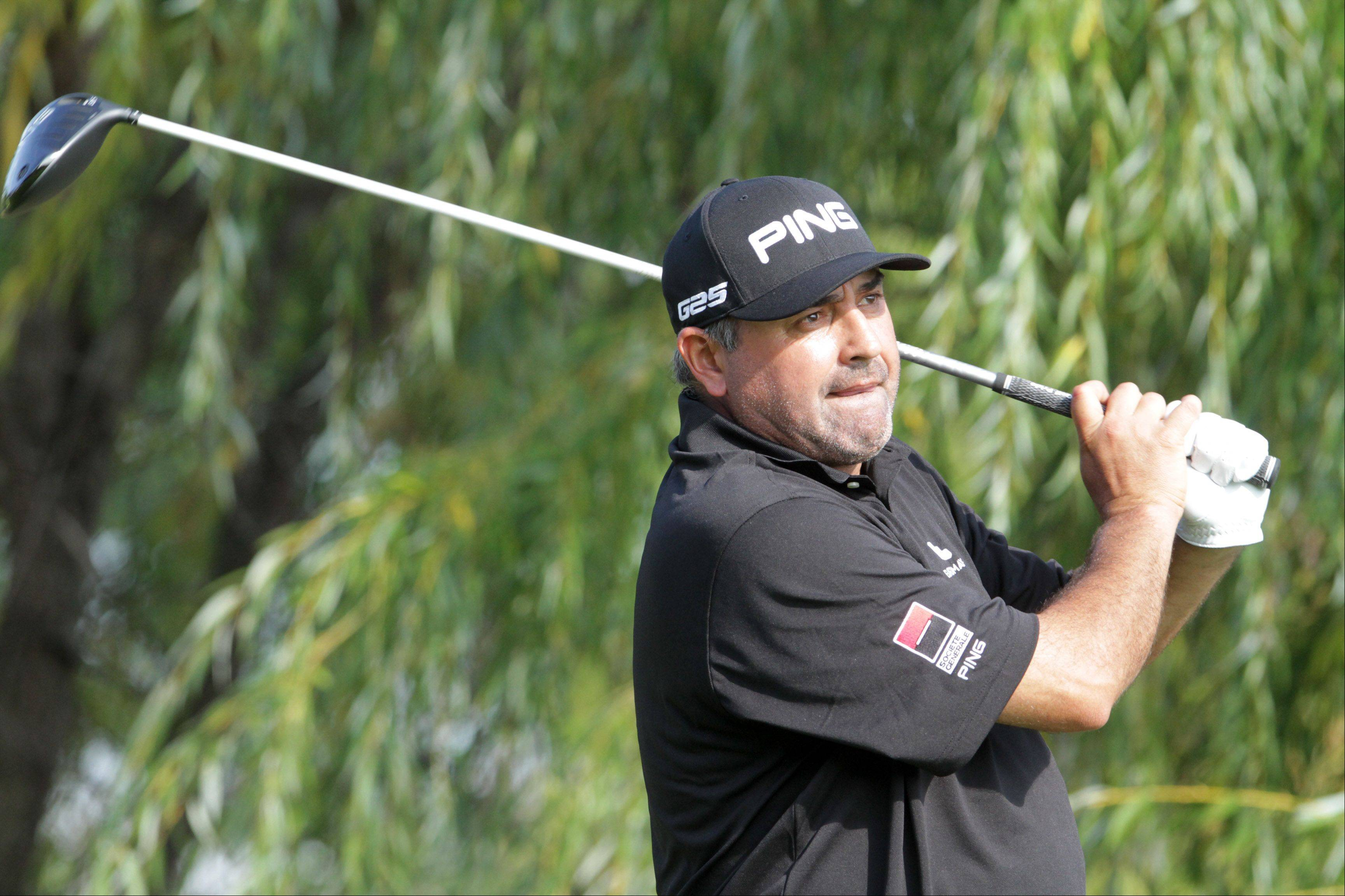 Angel Cabrera tees off on five.