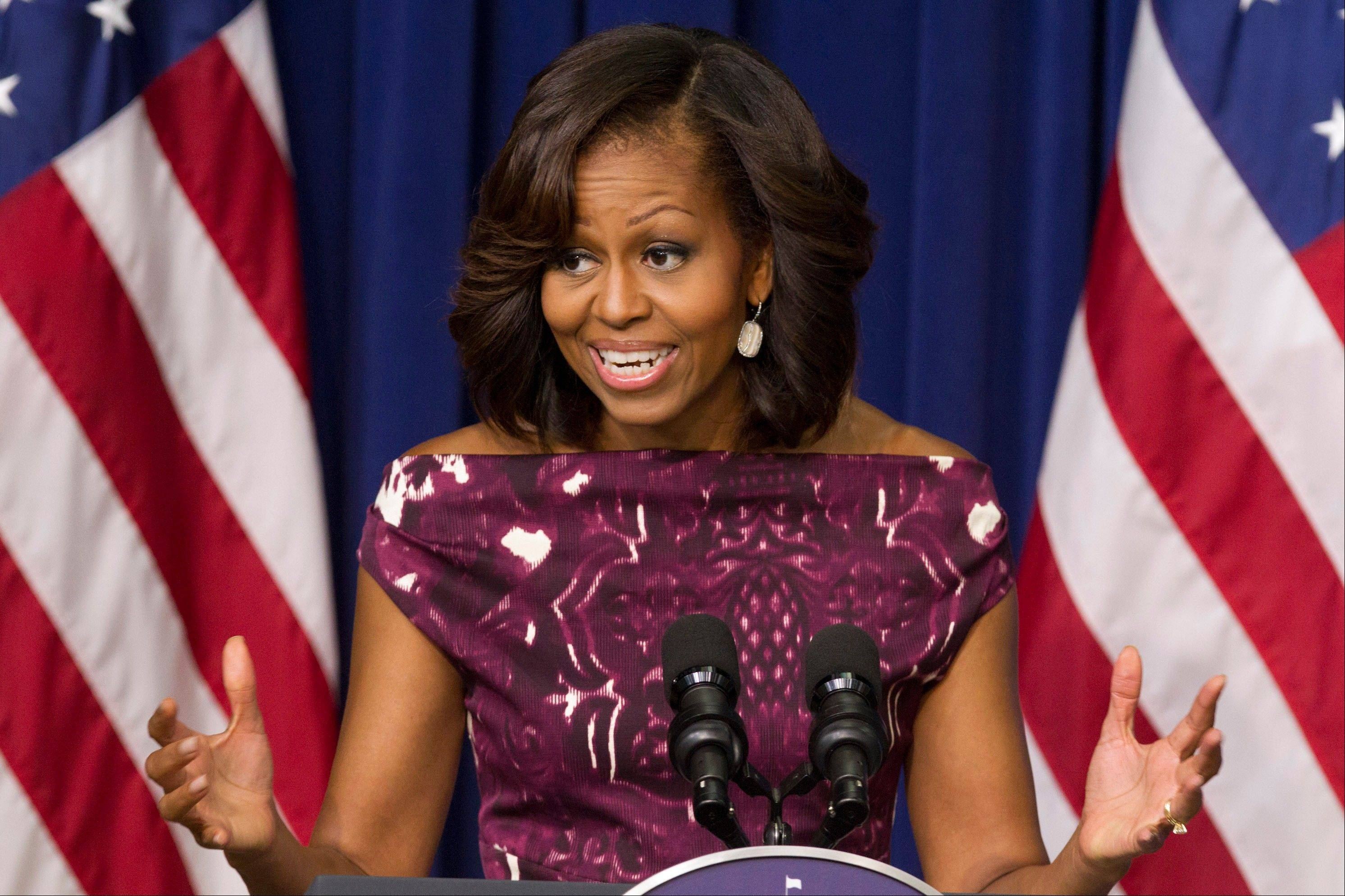 "First lady Michelle Obama is getting behind a campaign being launched Thursday to encourage people to drink more plain, old-fashioned water. Whether it comes from a faucet, an underground spring, a rambling river or a plastic bottle, the message is ""drink up."""