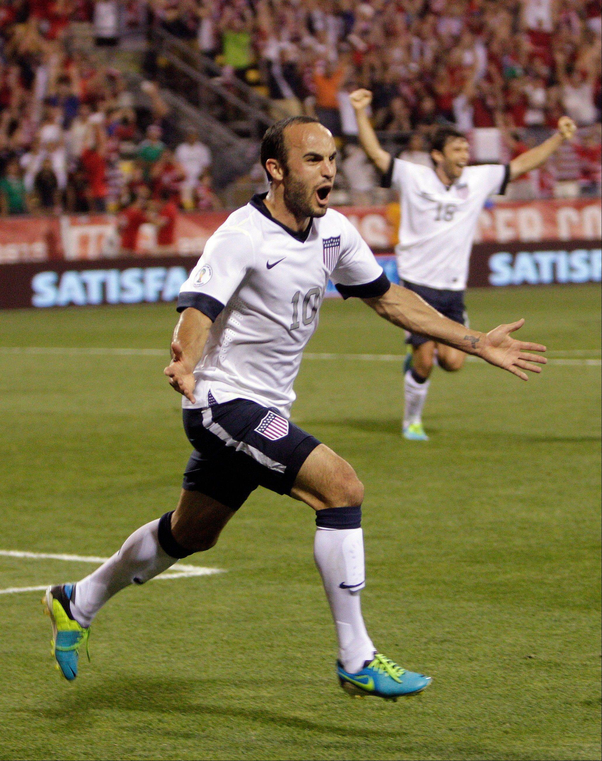Landon Donovan celebrates after scoring a goal for the U.S. on Tuesday during a World Cup qualifier against Mexico in Columbus, Ohio.