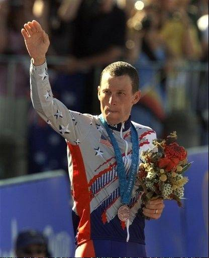Now-disgraced cyclist Lance Armstrong won the bronze medal in the men�s individual time trial at the 2000 Summer Olympics in Sydney, Australia.