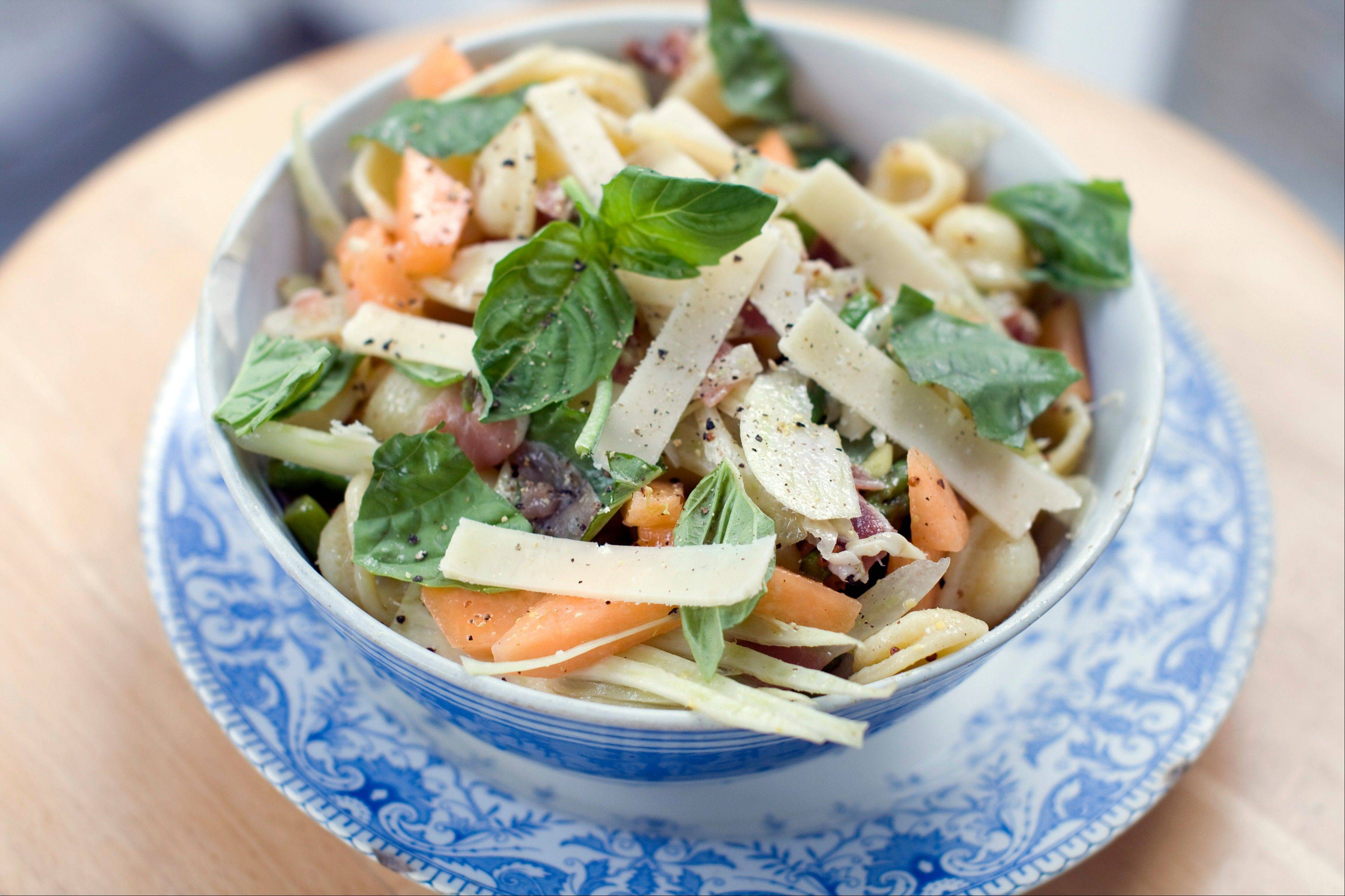 Pasta salad should be easy. It should be a just-throw-the-ingredients-in-a-bowl kind of summer food like this prosciutto, cantaloupe and orecchiette combo.