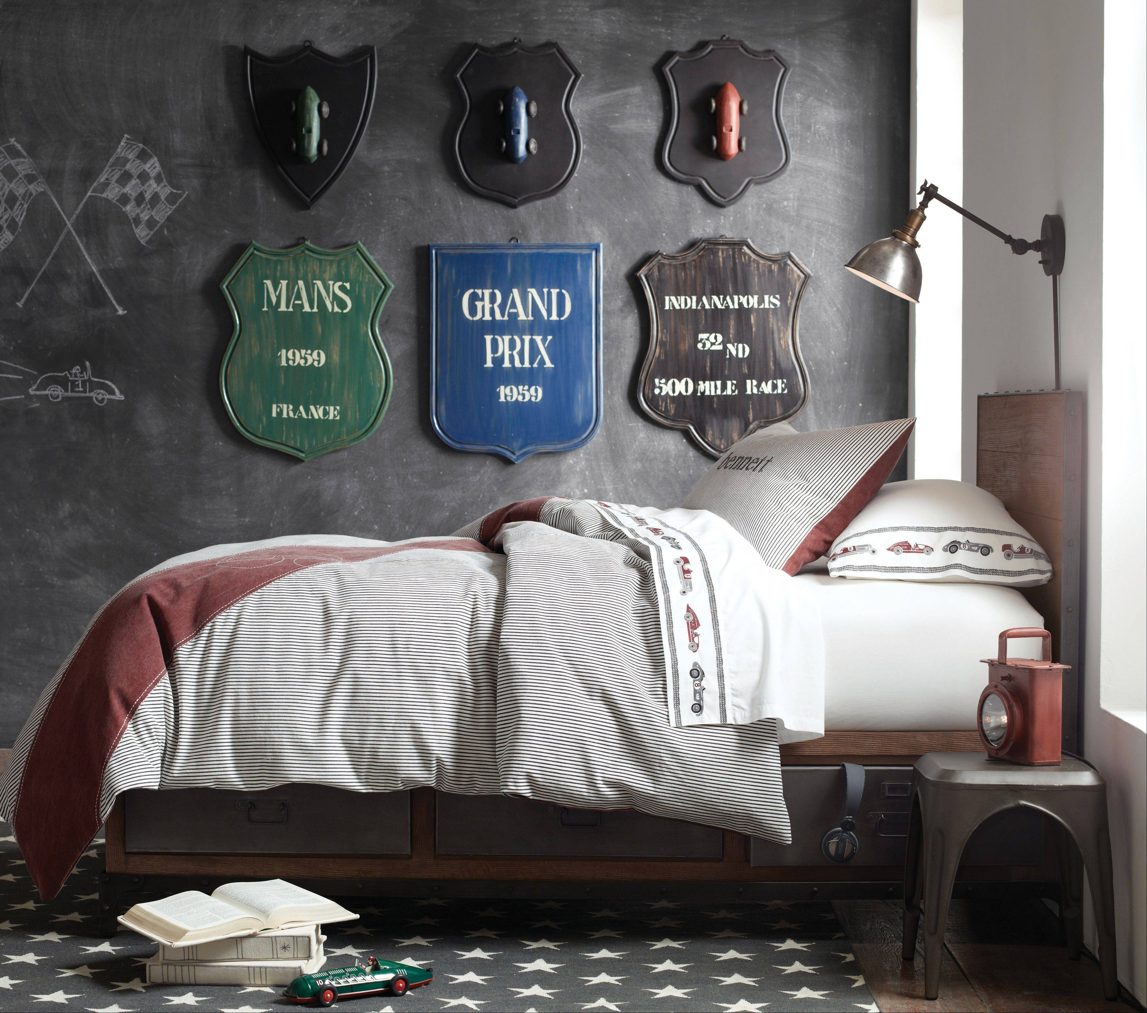 A young boy's love of cars works well to decorate his bedroom and looks chic and contemporary.