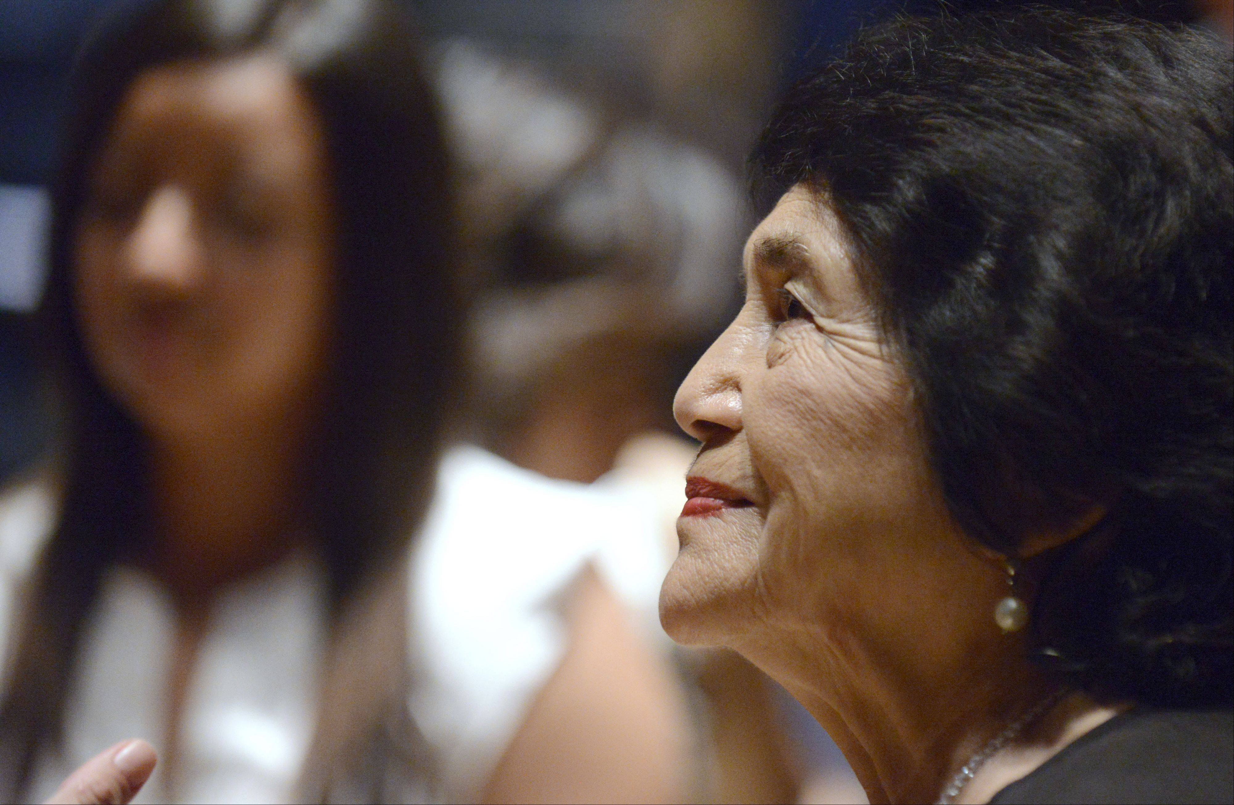Dolores Huerta, a 2012 Presidential Medal of Freedom recipient, speaks Thursday during an open forum at Elgin Community College's 24th Annual Hispanic Heritage Month kickoff event.