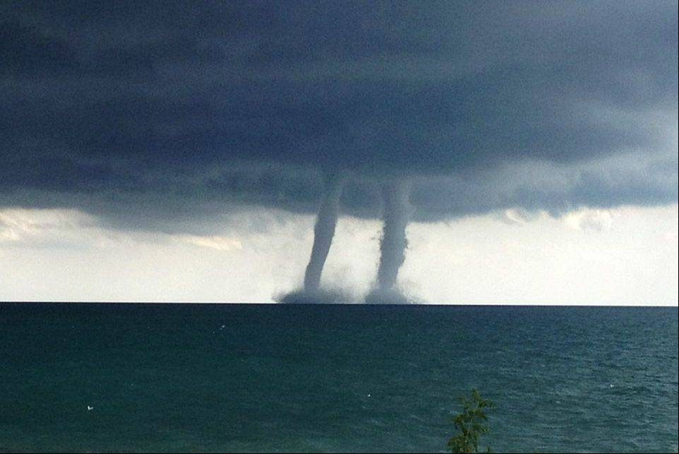 A double waterspout is photographed by Kenosha Police officials Thursday.