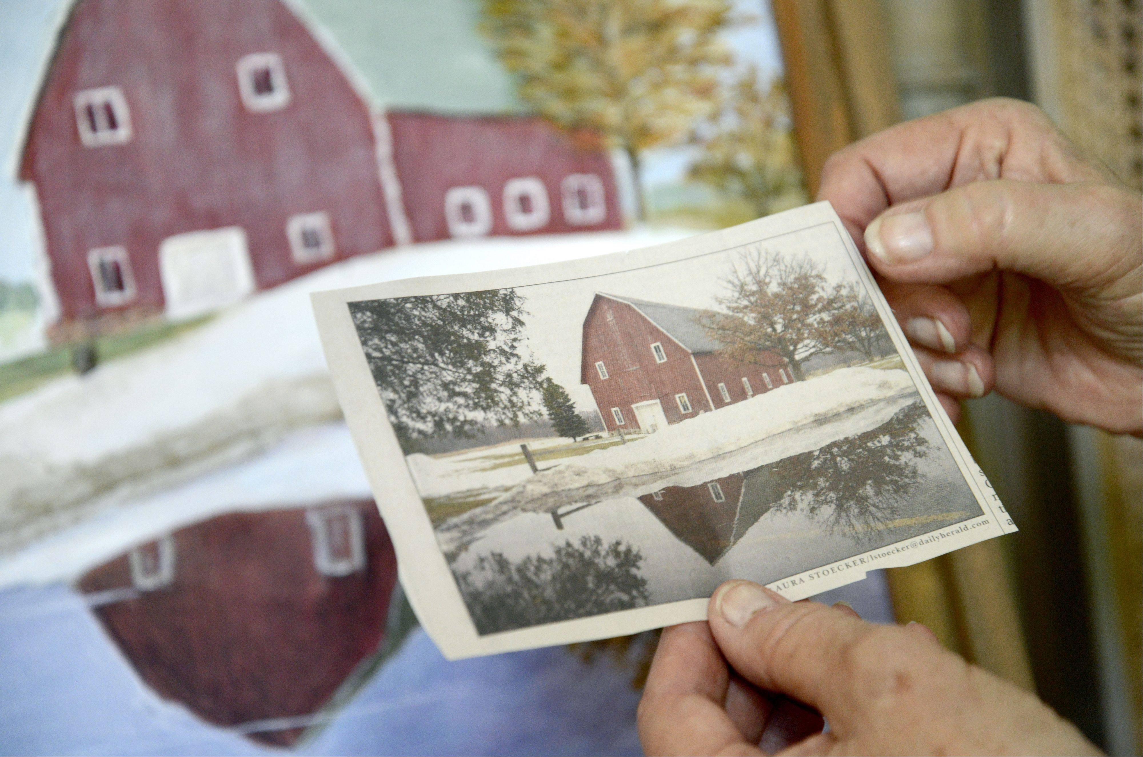 Janine Webbles of Batavia painted the barn at LeRoy Oakes Forest Preserve in St. Charles using a photograph by Daily Herald staff photographer, Laura Stoecker, as a guide.