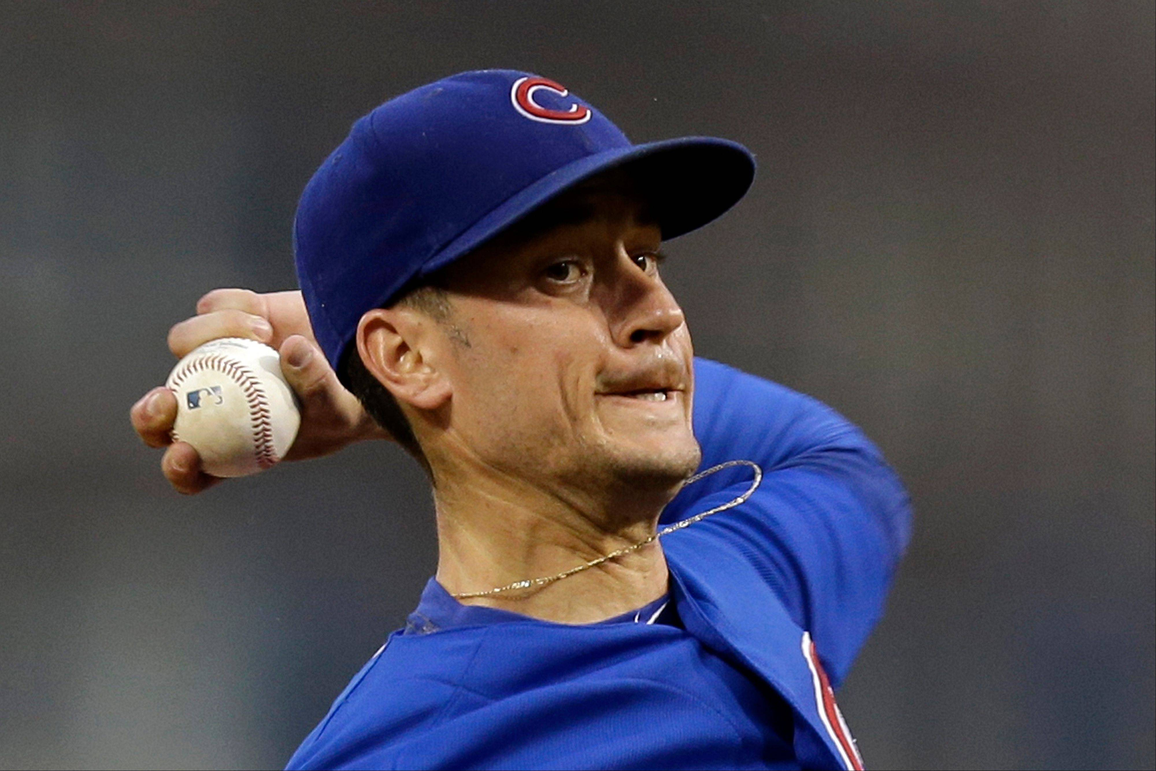 Chicago Cubs starting pitcher Chris Rusin delivers during the first inning of a baseball game against the Pittsburgh Pirates in Pittsburgh, Thursday, Sept. 12, 2013.
