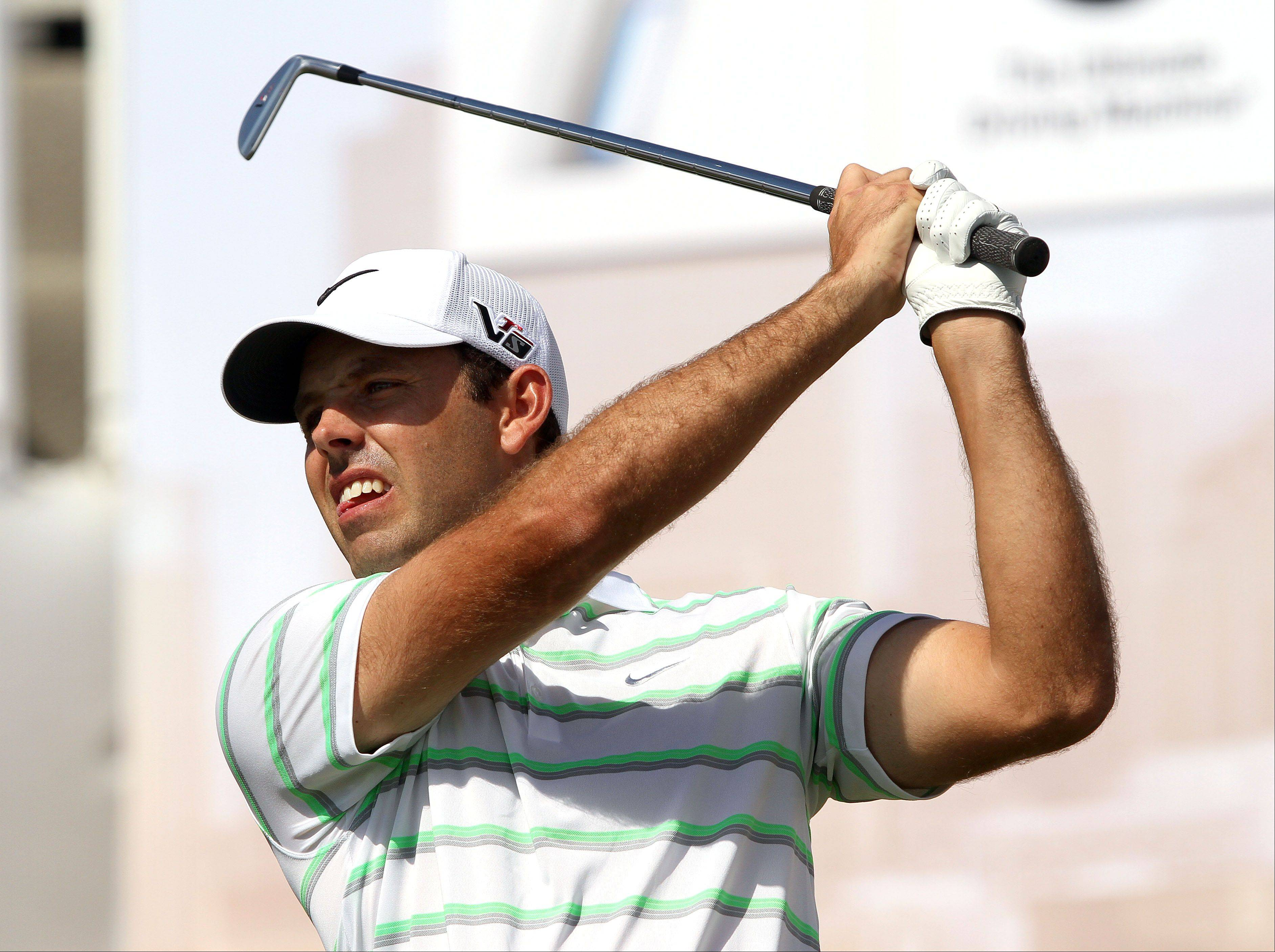 Charl Schwartzel hits to the 17th green.