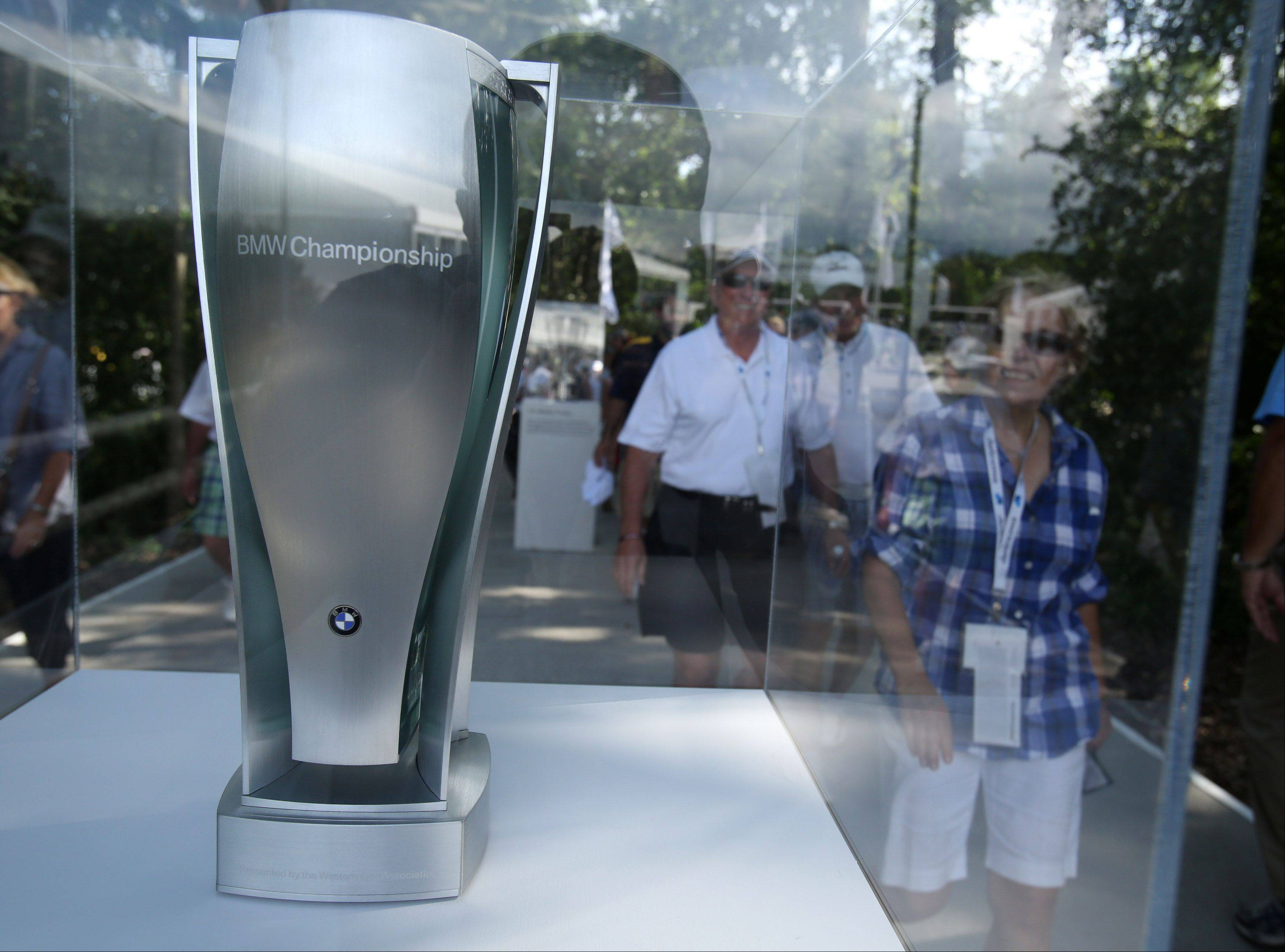 The BMW Championship trophy on display.