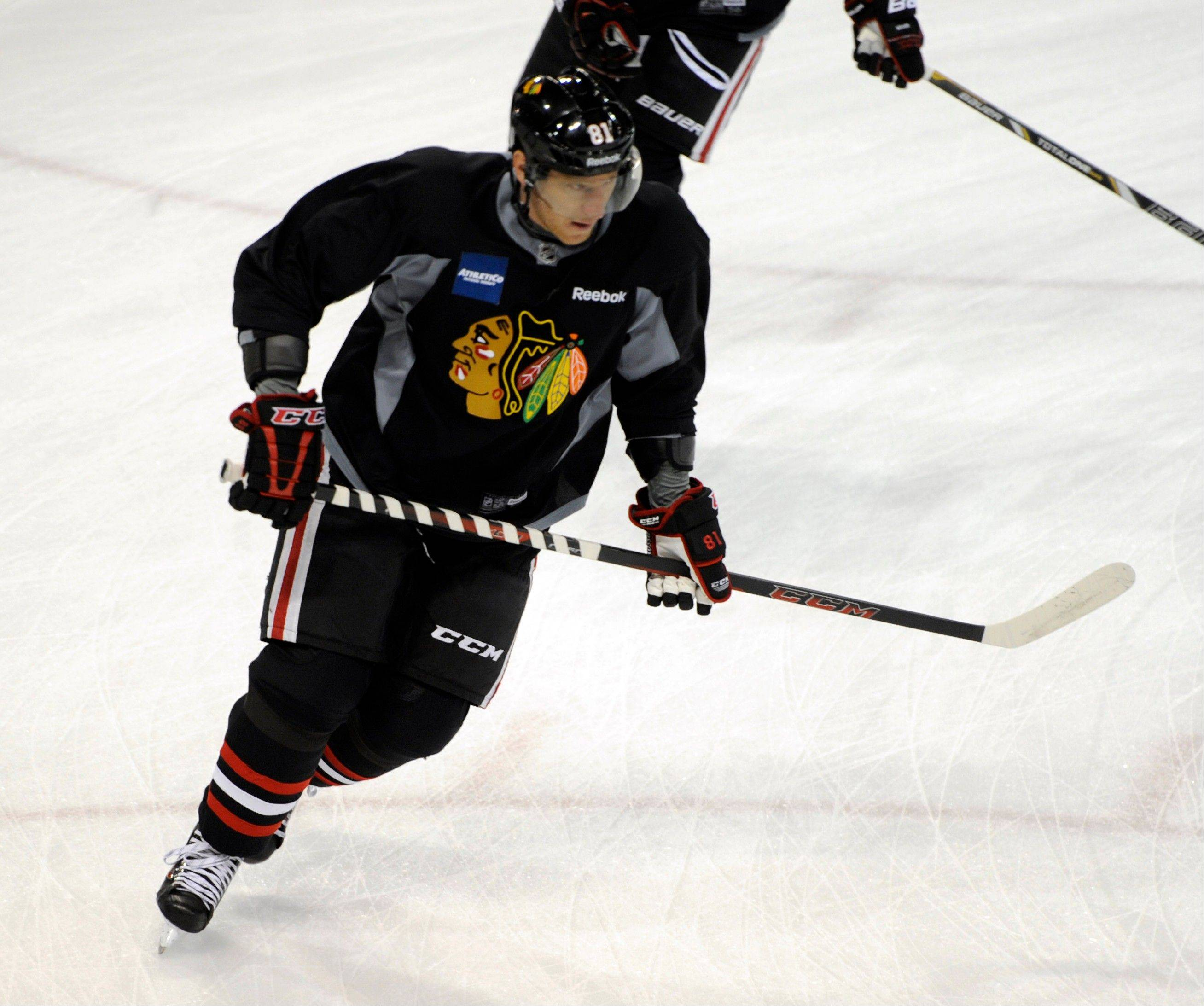 Marian Hossa says his back is in good shape and he's ready for a full training camp and contact.