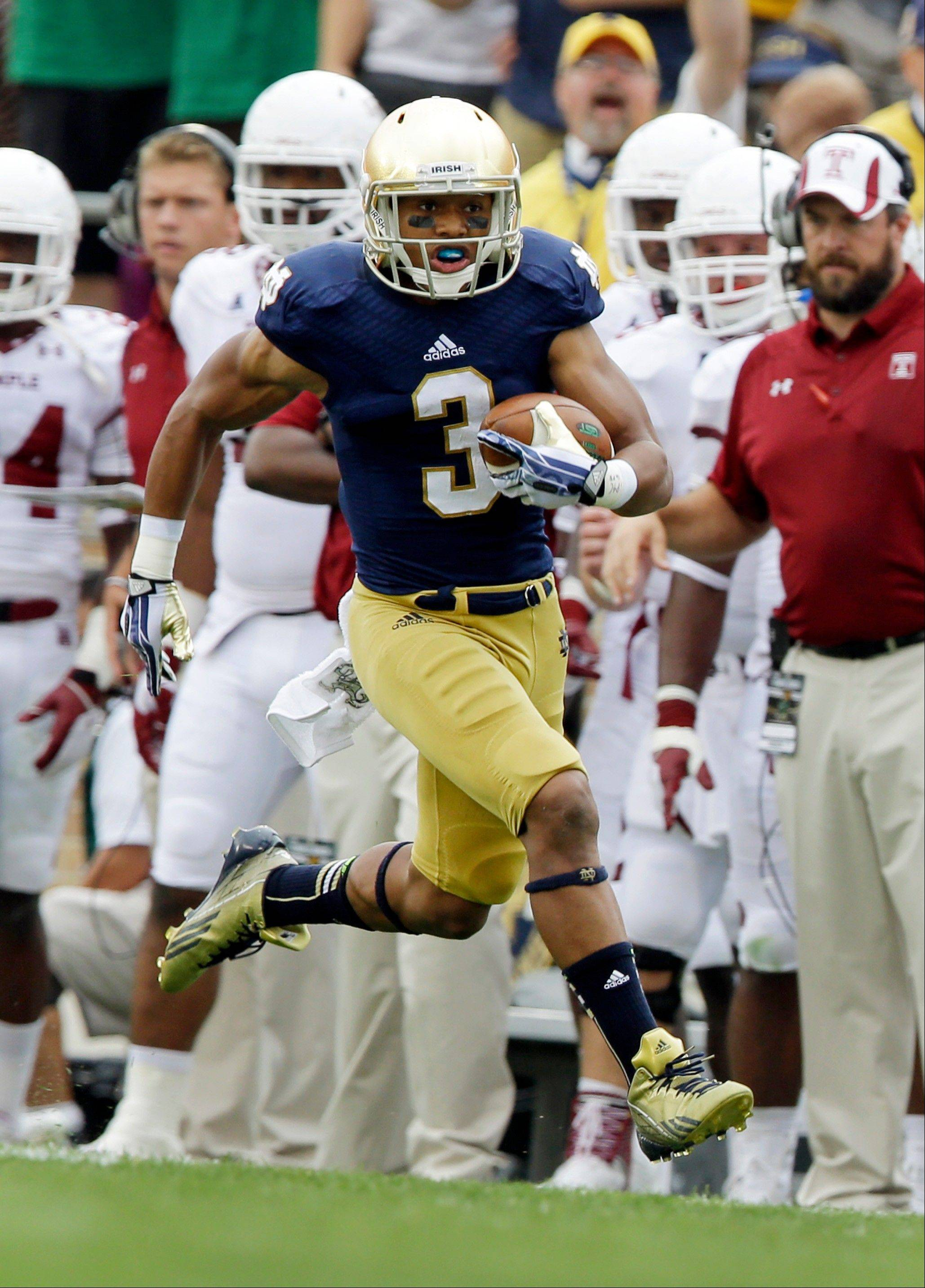 Notre Dame running back Amir Carlisle has rushed for 132 yards on 19 carries in two games.