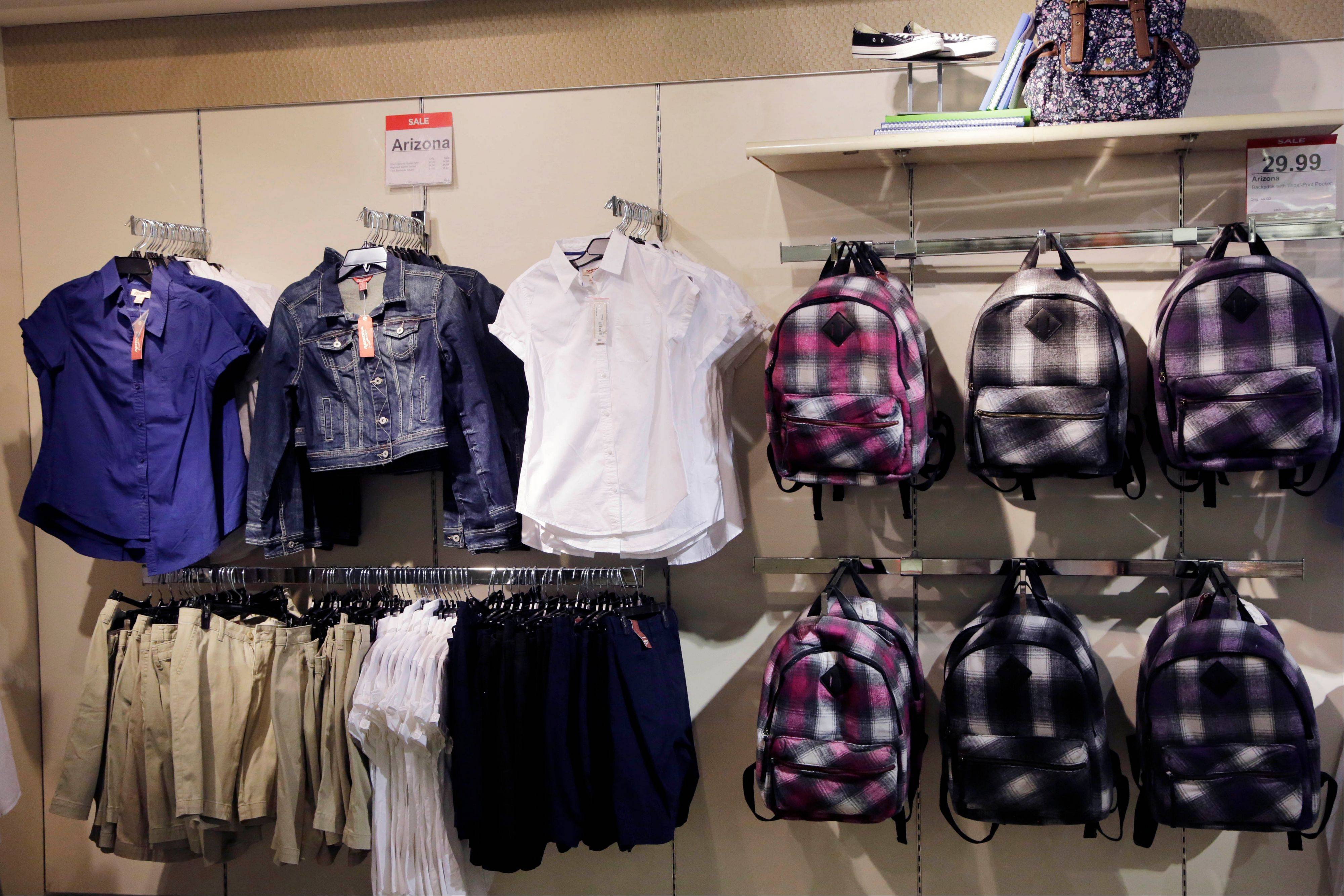 School uniforms by Arizona at JC Penney in New York. U.S. businesses restocked their shelves and warehouses in July at the fastest pace since January as their sales rose, a hopeful sign for economic growth.