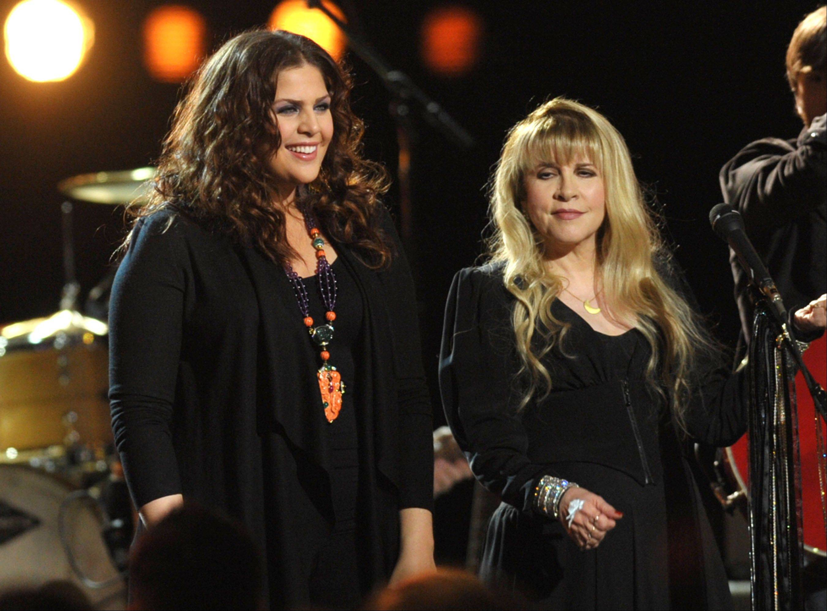 "Hillary Scott, left, of Lady Antebellum performs with Stevie Nicks at the taping of ""CMT Crossroads"" back in January. The episode with Scott and Nicks airs on Friday."