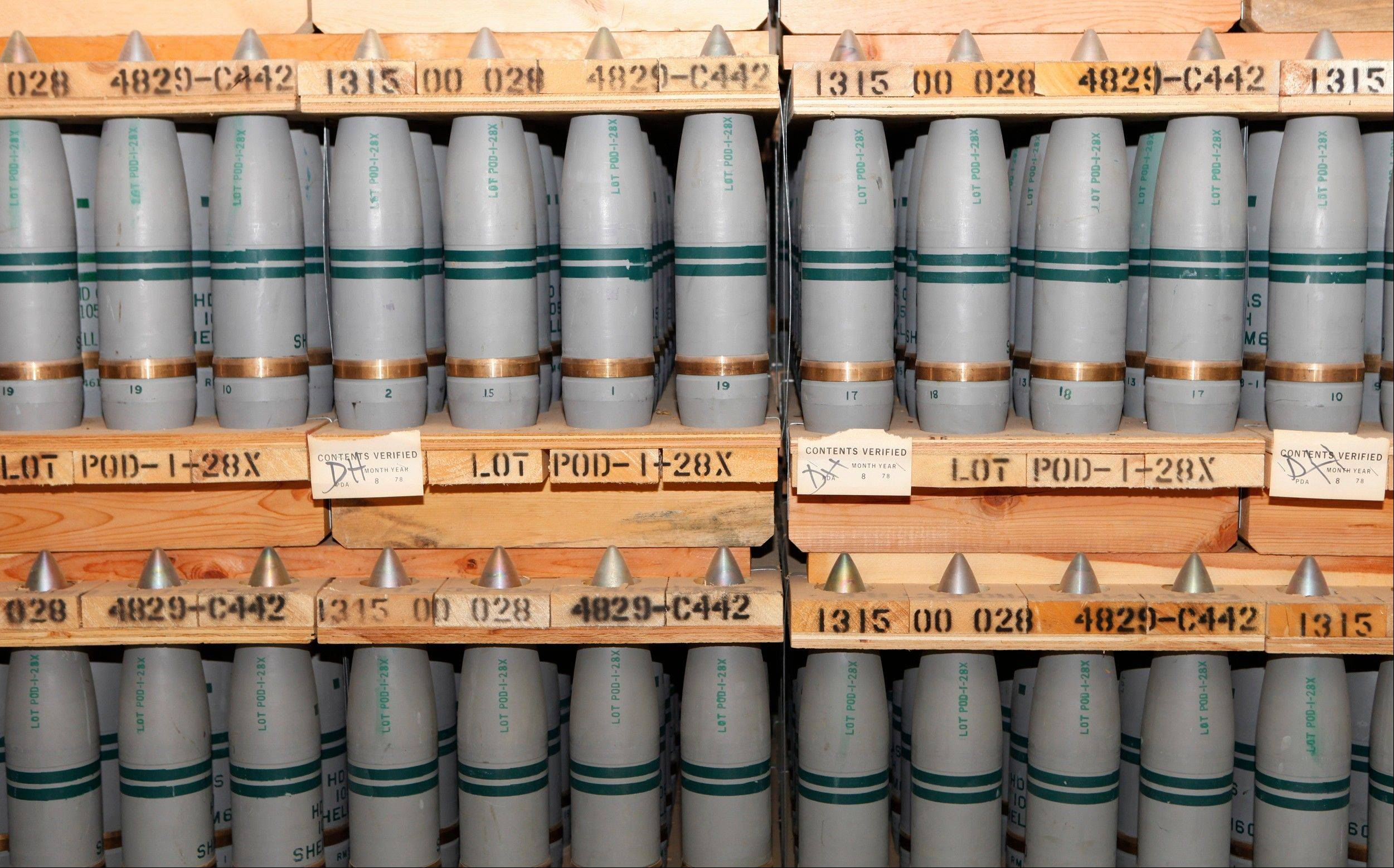 Mustard gas agents are stored in these 105mm shells in a bunker at the Army's Pueblo Chemical Storage facility in Pueblo, Colo. Three decades after the United States started destroying its own chemical weapons, the nationís stockpile stands at more than 3,000 tons.