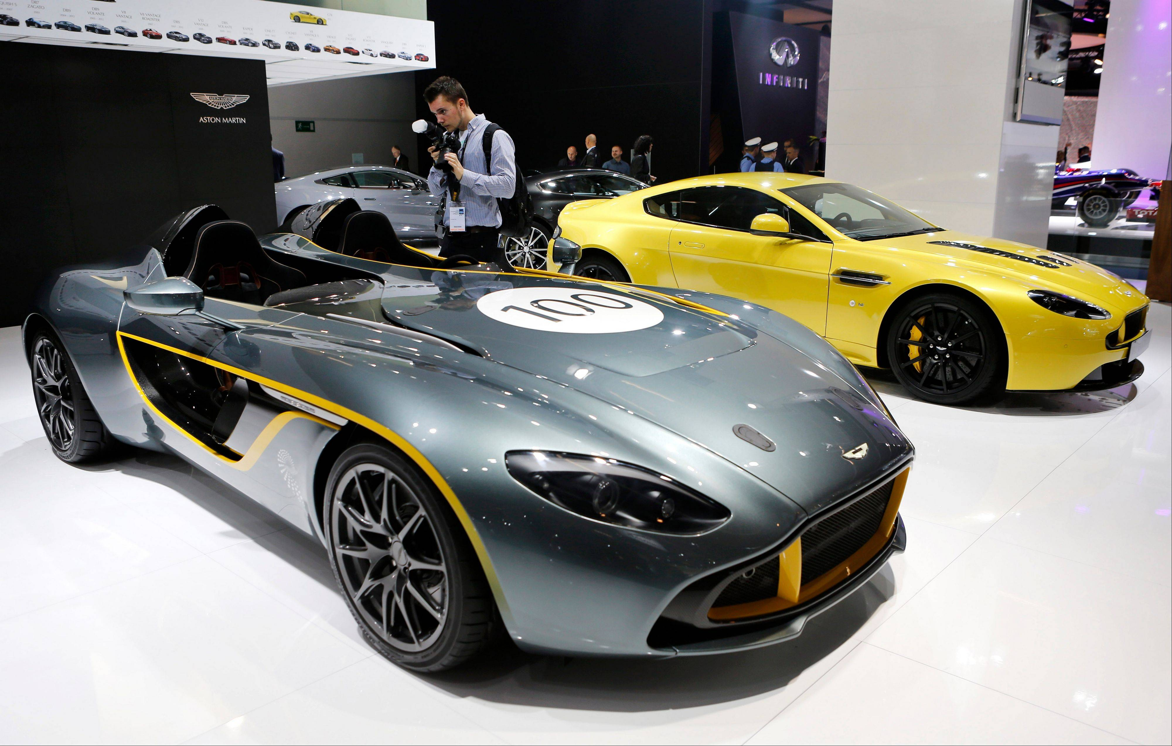 The Aston Martin 100 is presented during the second press day of the 65th Frankfurt Auto Show in Frankfurt, Germany.