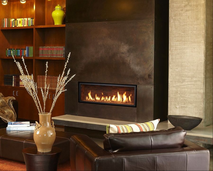 A popular line of linear-style gas fireplaces are made by Xtrodinair. These contemporary fireplaces are available from Hearth & Home in Mount Prospect.