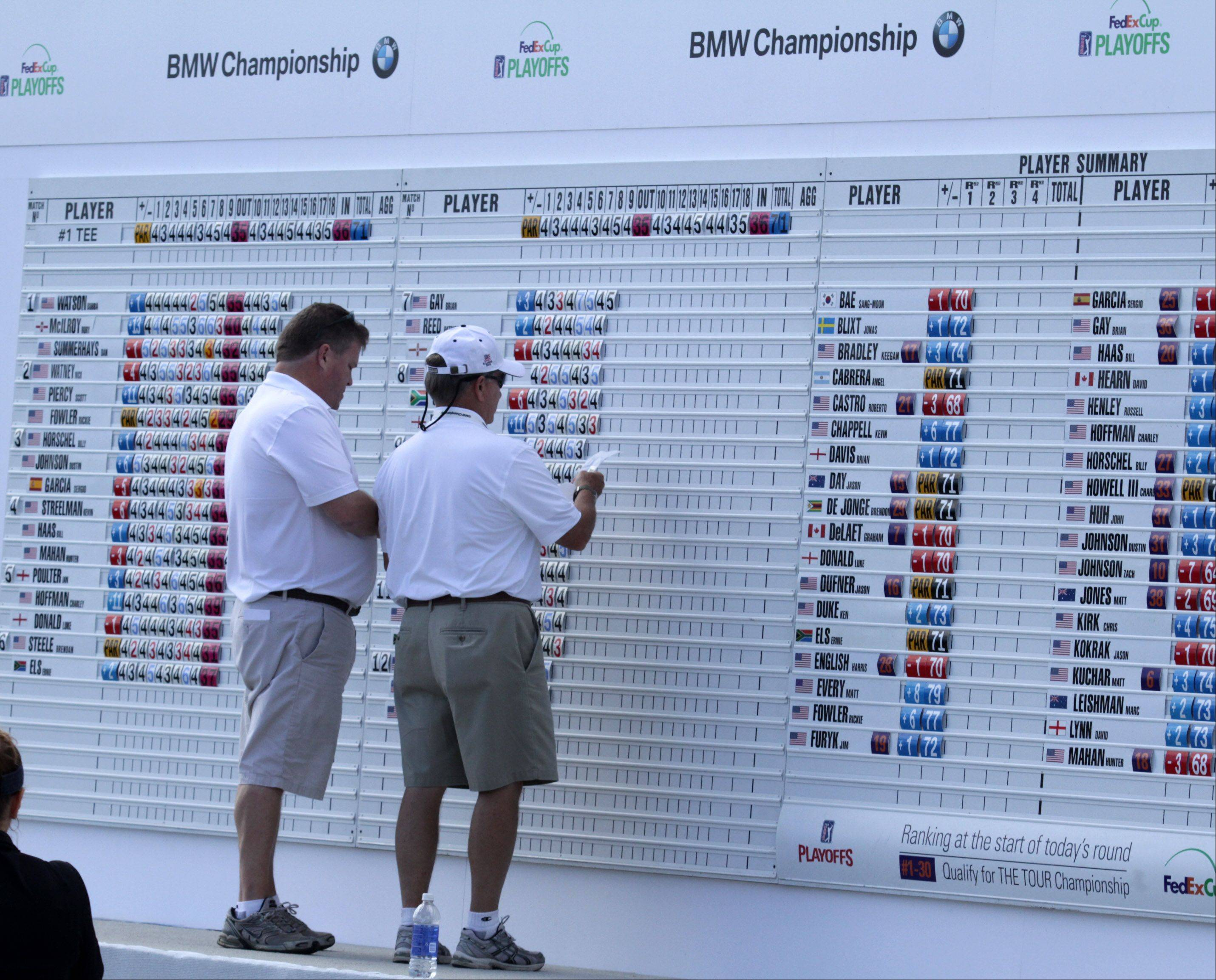 The leader board is shown near an outdoor eating area at the BMW Championship at Conway Farms Golf Club in Lake Forest on Friday.