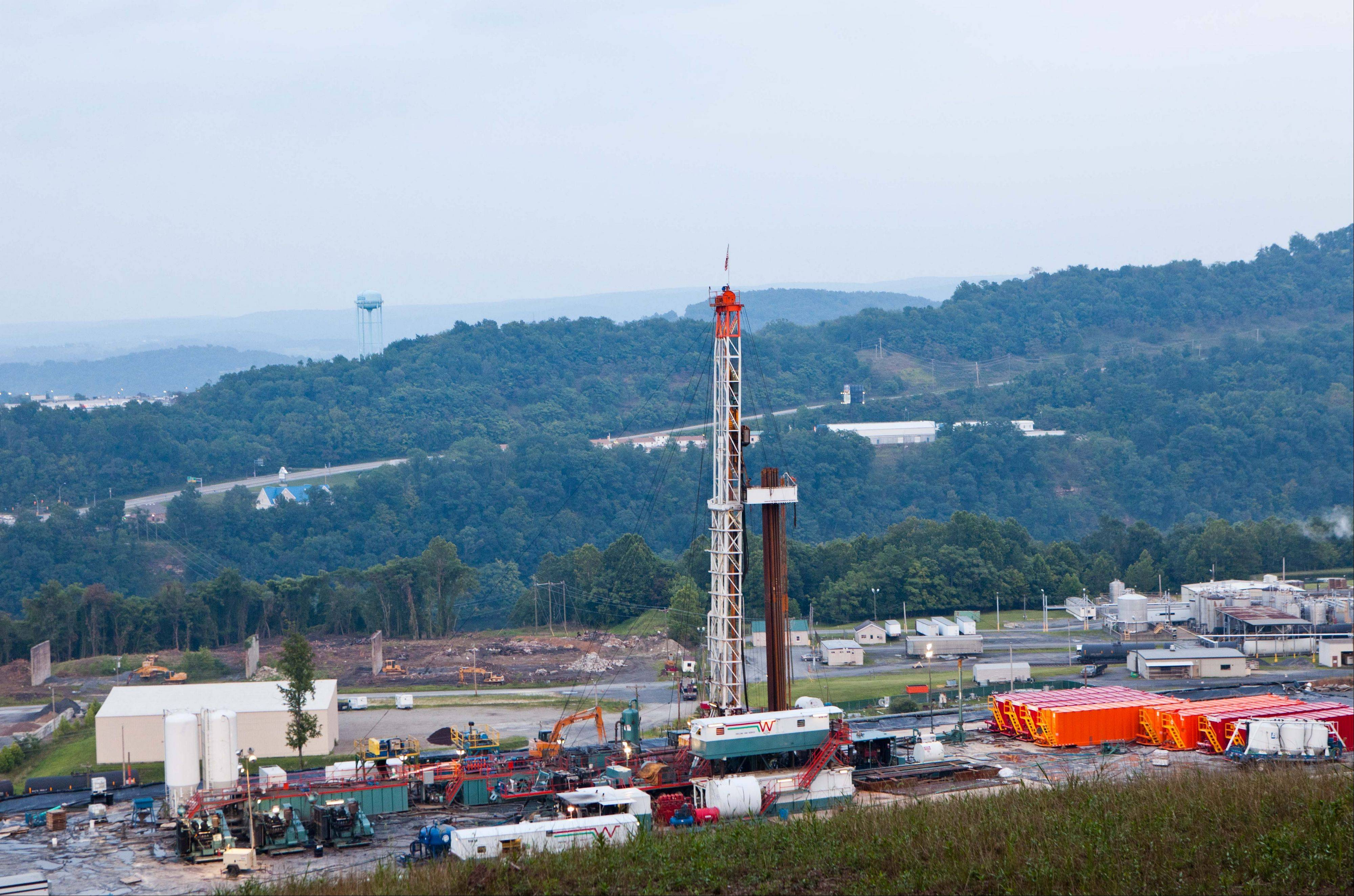 A natural gas well operated by Northeast Natural Energy. In 2013 a new bonanza in the natural gas fields has state leaders proposing to create an oil and natural gas trust fund for future generations.