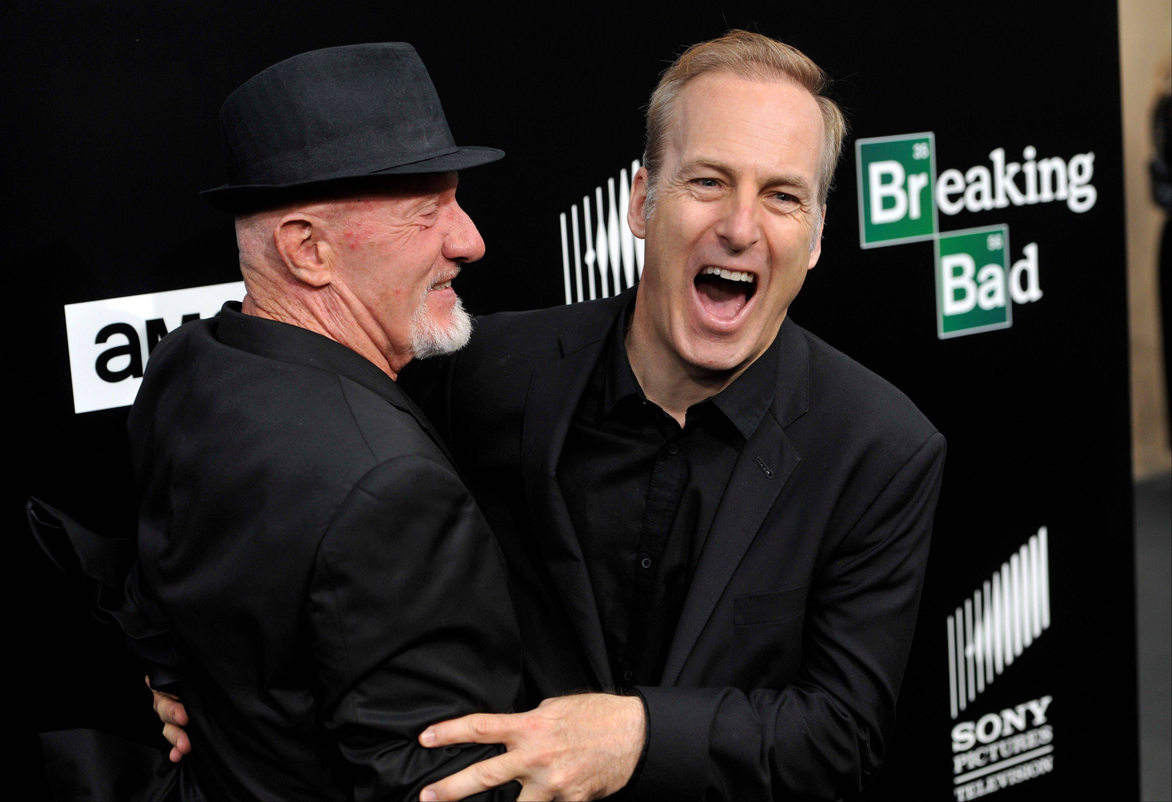 "Former cast member Jonathan Banks, left, and current cast member Bob Odenkirk, from ""Breaking Bad,"" on the red carpet at a premiere screening to celebrate the final episodes in Los Angeles."
