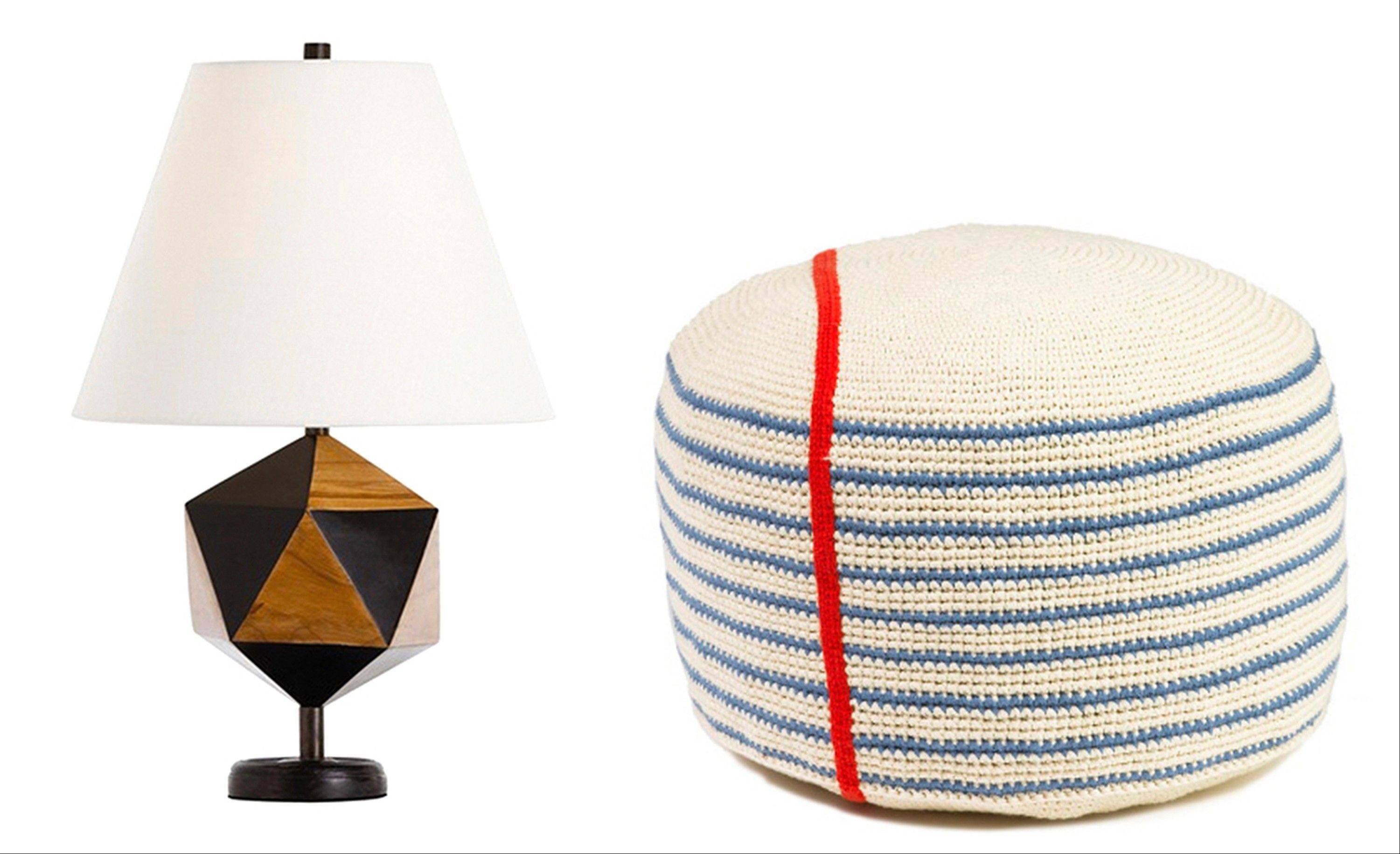 Geometric prints and patterns are another way to add interest to a child's room. Examples in lighting include the Geo Wood Lamp; left, and the Notebook Stripe pouf from Little Choux.
