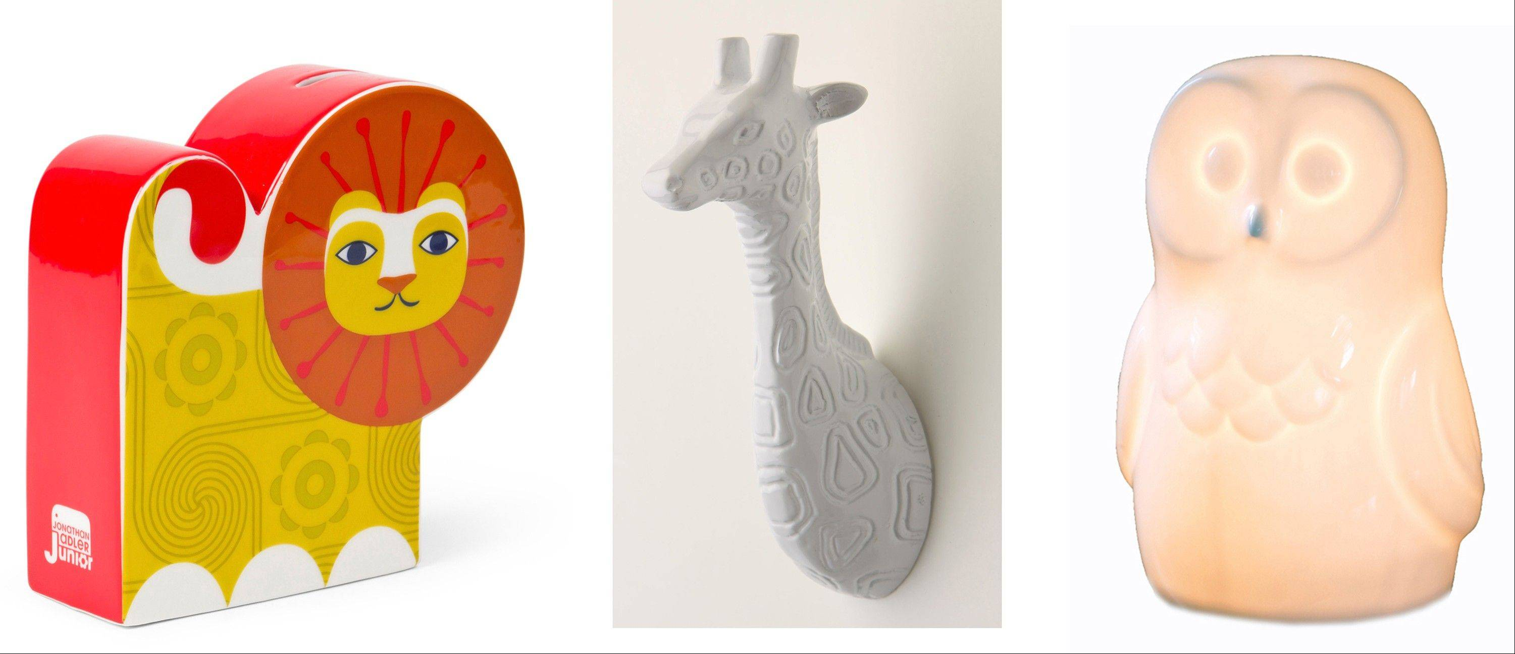 Animal-inspired accessories are always popular in kids' rooms. From left, the Lion Bank by Jonathan Adler, a giraffe-head hook from Anthropologie and a bone china owl lamp.