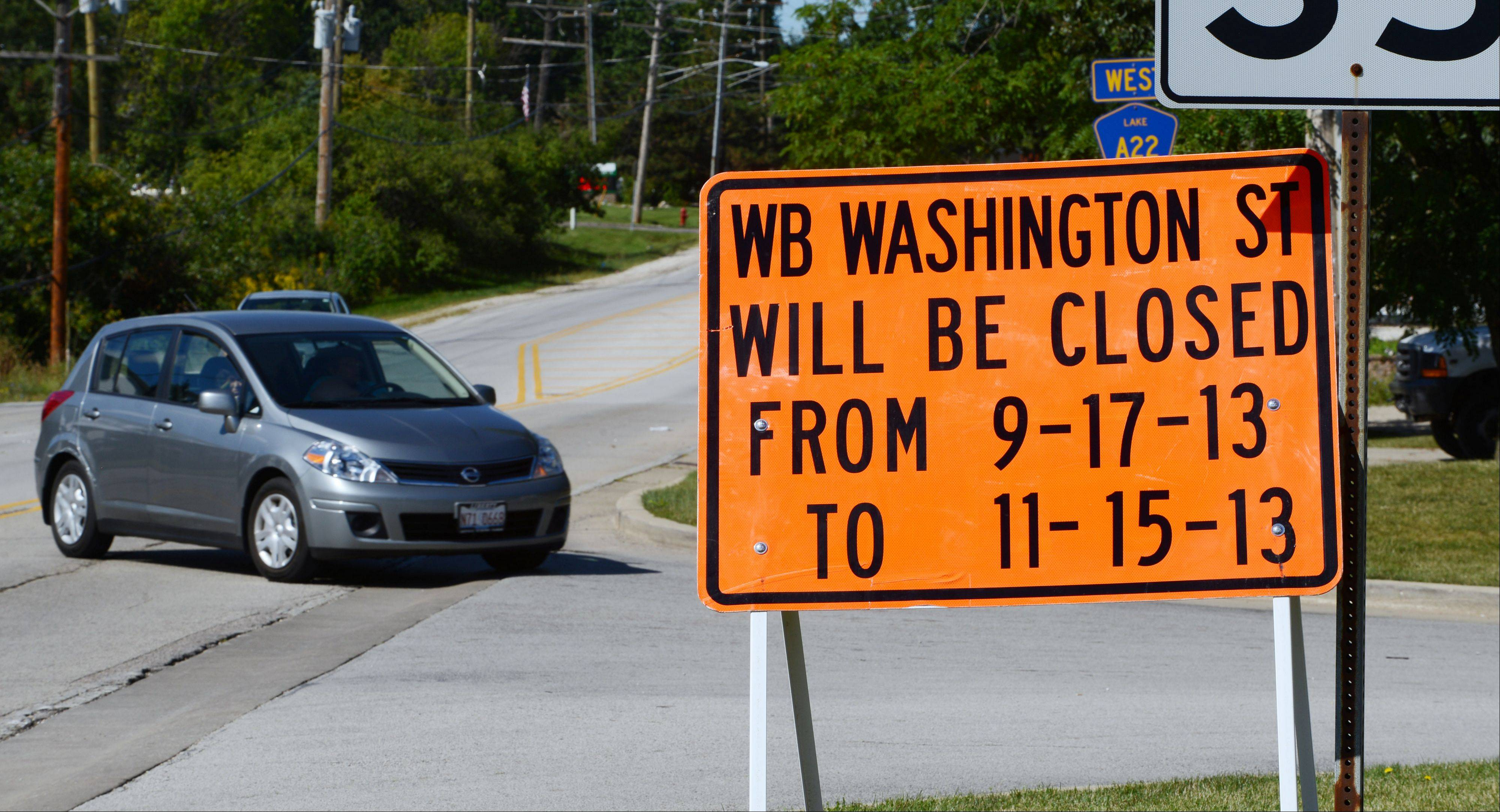 Washington Street from Cedar Lake Road to Hainesville Road will close for 60 days beginning Tuesday for road improvements.