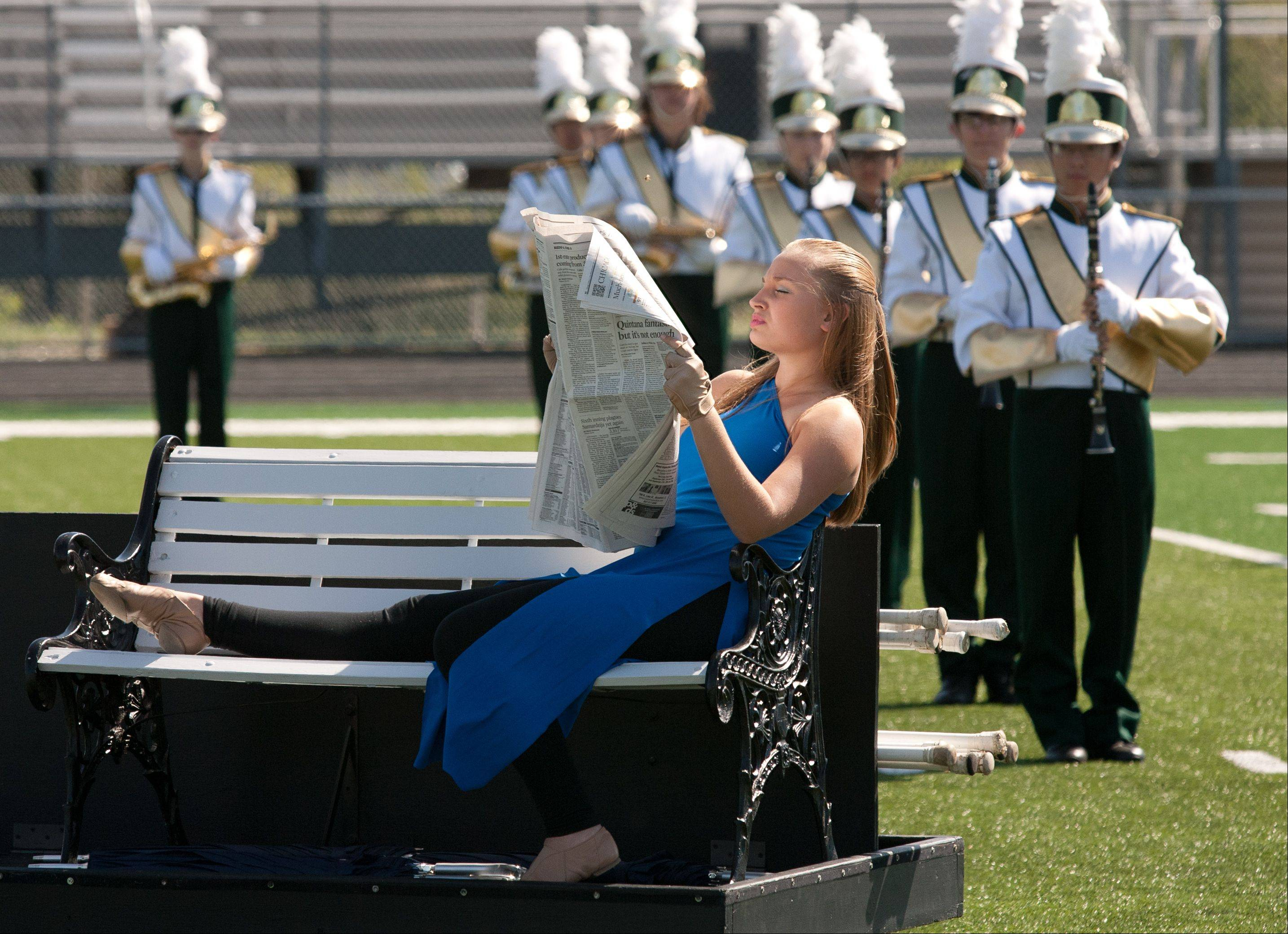 Fremd High School Marching Band member Marlena Patterson begins a performance during the 35th annual Lancer Joust Marching Band Competition.