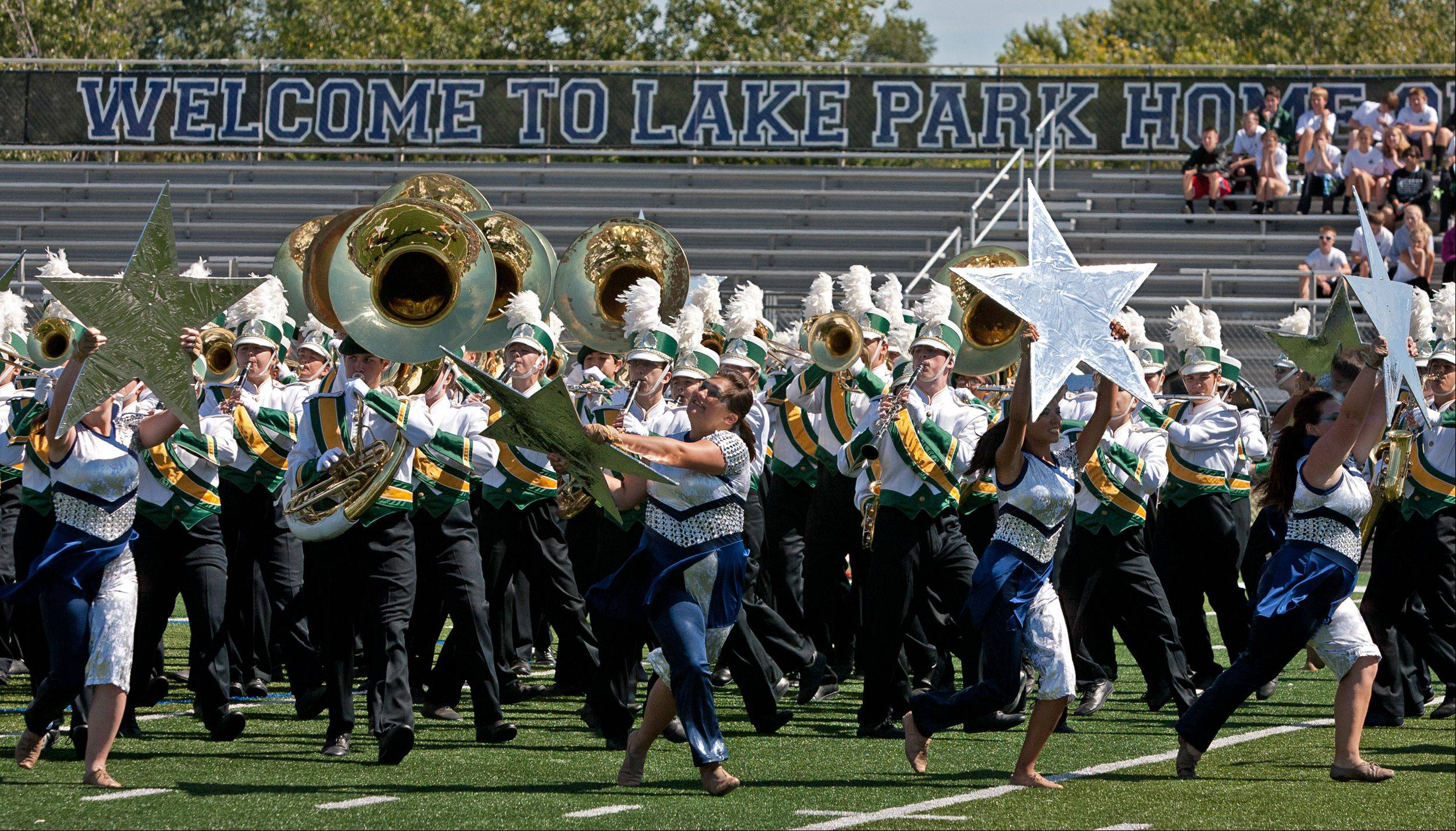 Waubonsie Valley High School Marching Band members begin their performance Saturday during the 35th annual Lancer Joust Marching Band Competition.
