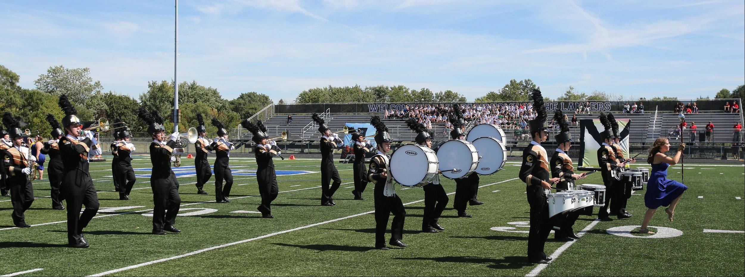 Jacobs High School Marching Band members perform Saturday during the 35th annual Lancer Joust Marching Band Competition.