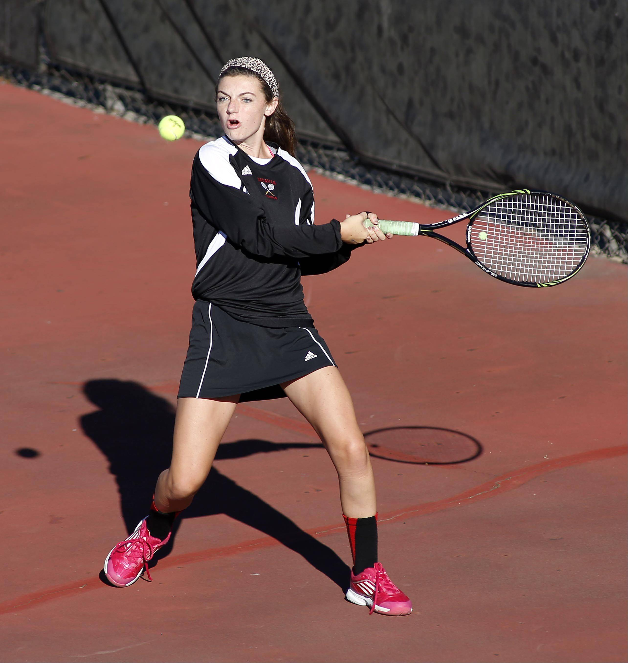 First singles player Nora McClure of Batavia during the St. Charles East girls tennis invite Saturday.