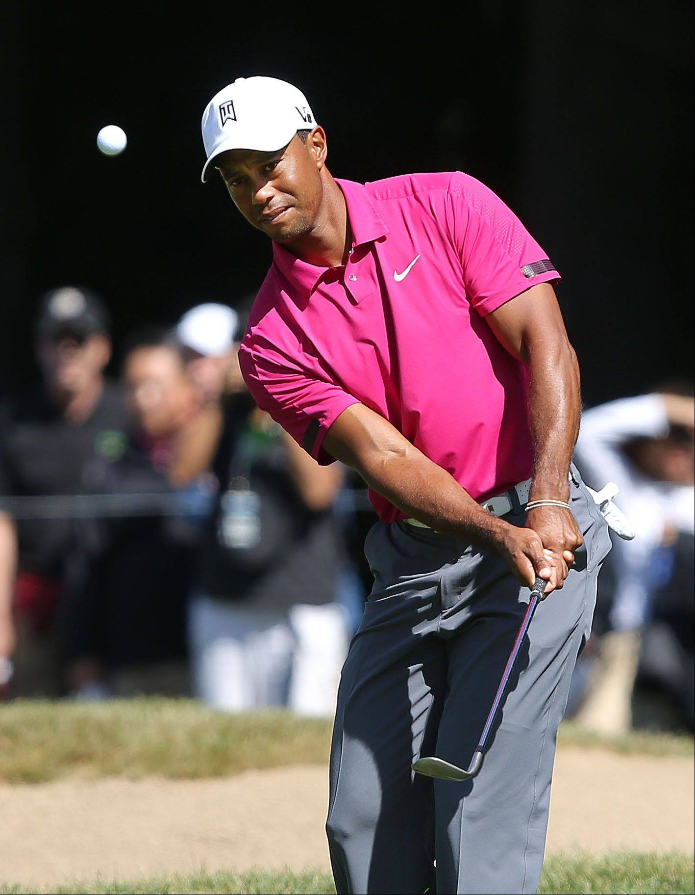 Tiger Woods chips to the 5th green during the third-round of the BMW Championship at Conway Farms Golf Club in Lake Forest Saturday.