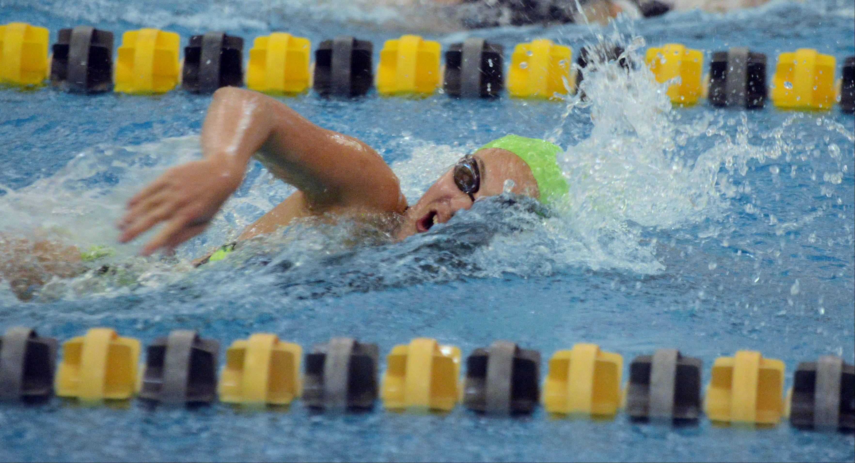 Emma Tinney of Waubonsie Valley swims in the 200 Free during the Neuqua Valley girls swimming invitational Saturday.