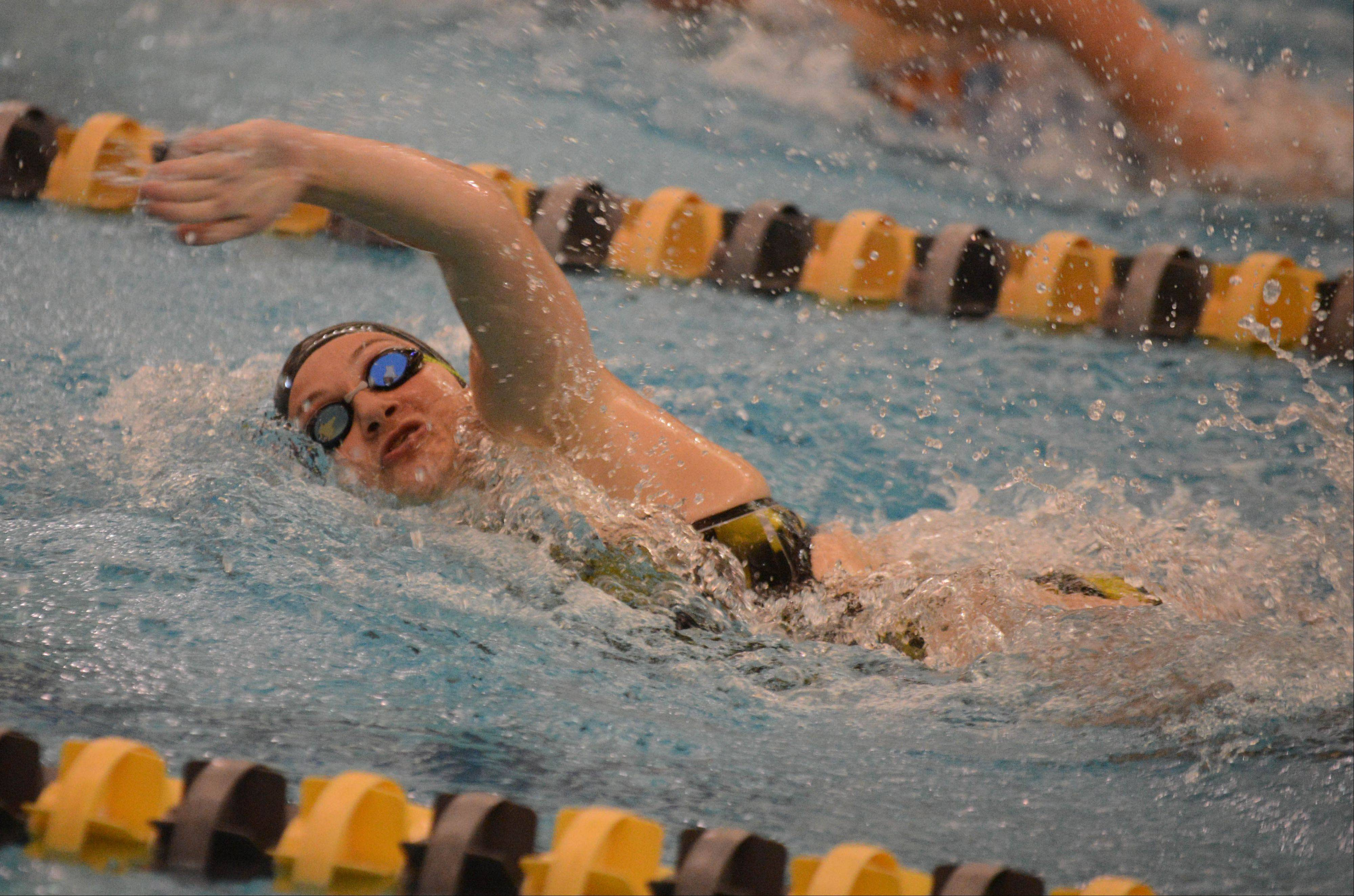 Nikki Banas of Metea Valley swims the 200 Free during the Neuqua Valley girls swimming invitational Saturday.