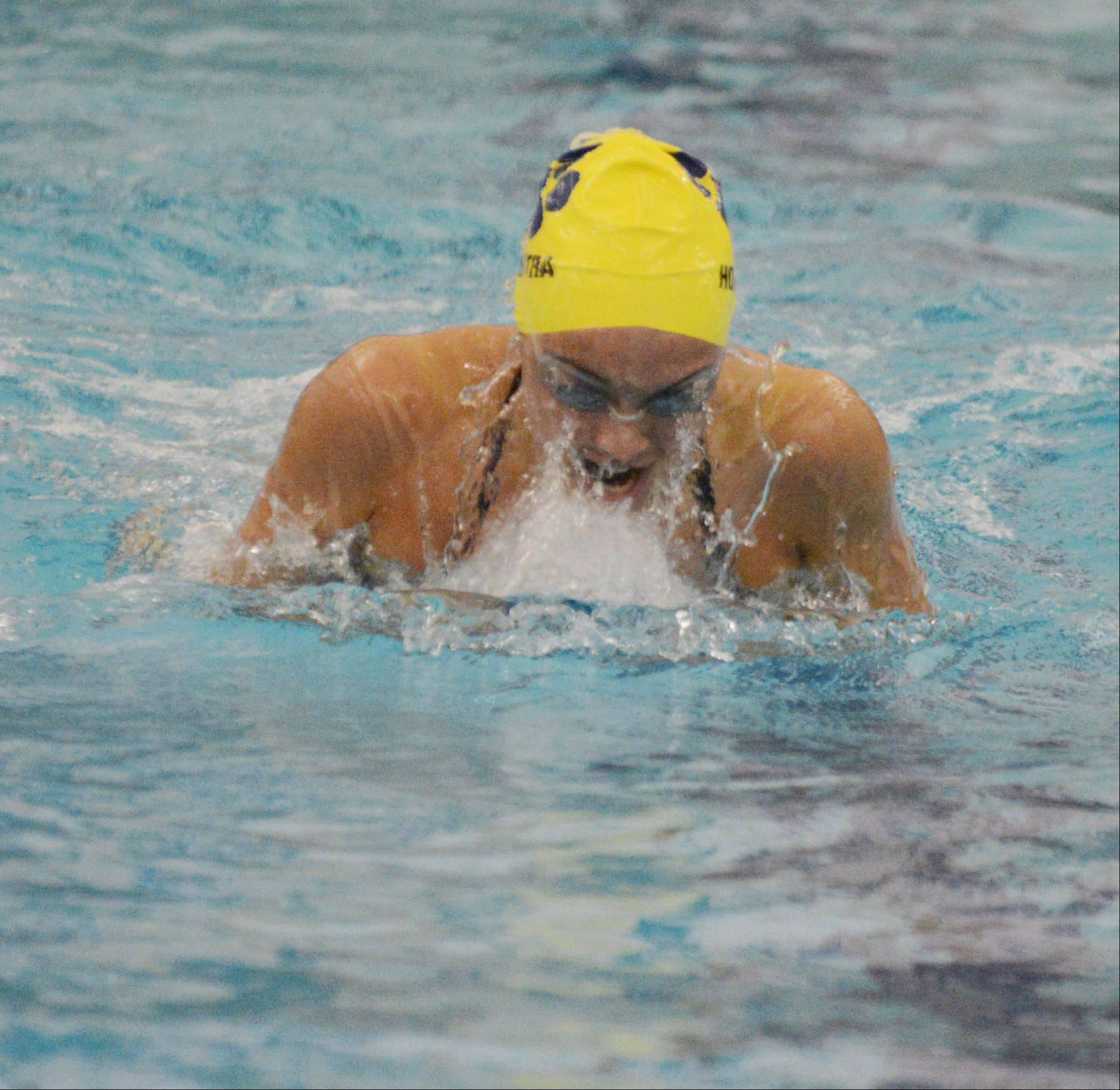 Samantha Sauer of Saint Charles North swims in the 200 IM Realy during the Neuqua Valley girls swimming invitational Saturday.