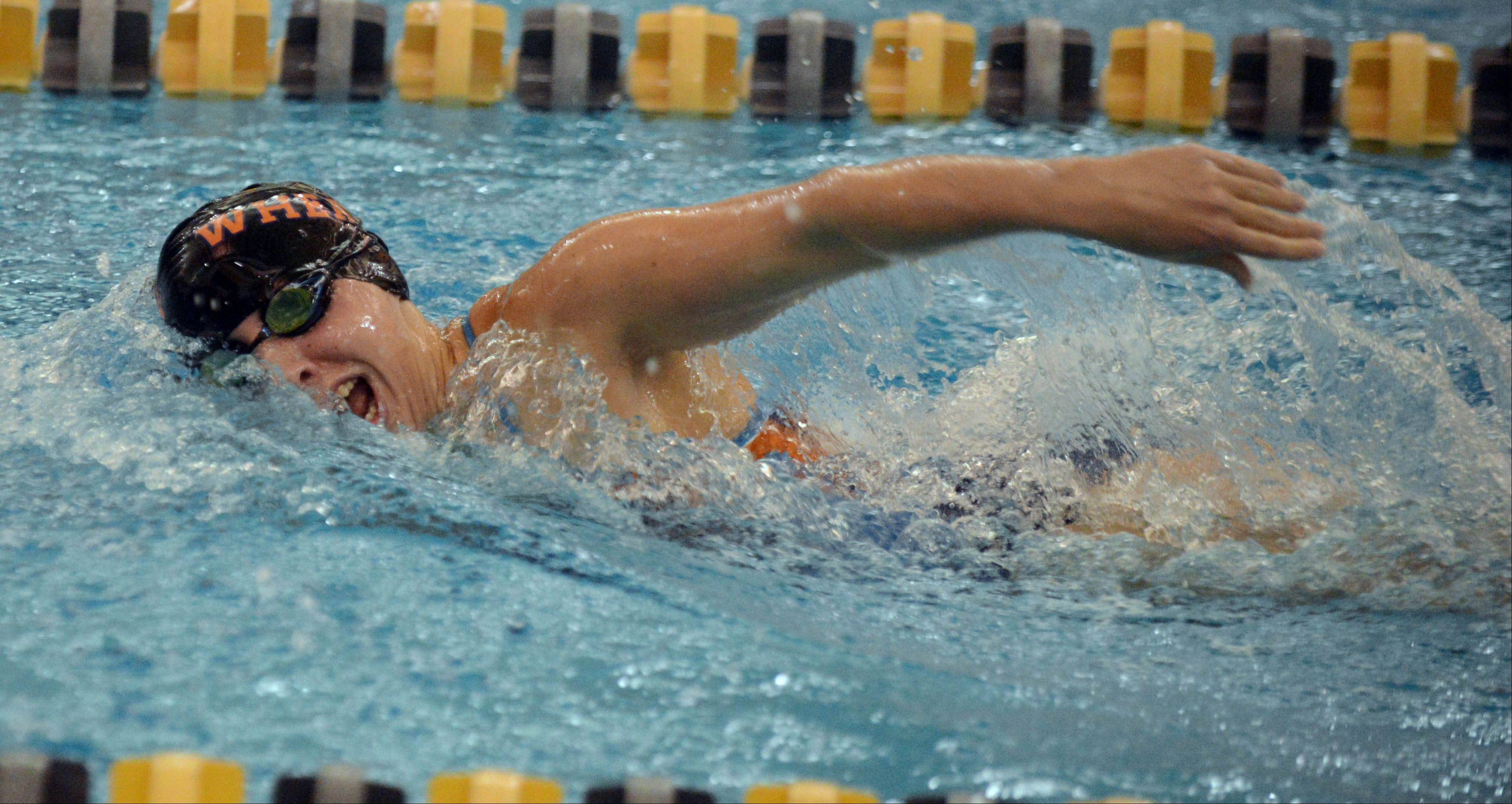 Amanda Stiegal of Wheaton swims the 200 Free during the Neuqua Valley girls swimming invitational Saturday.