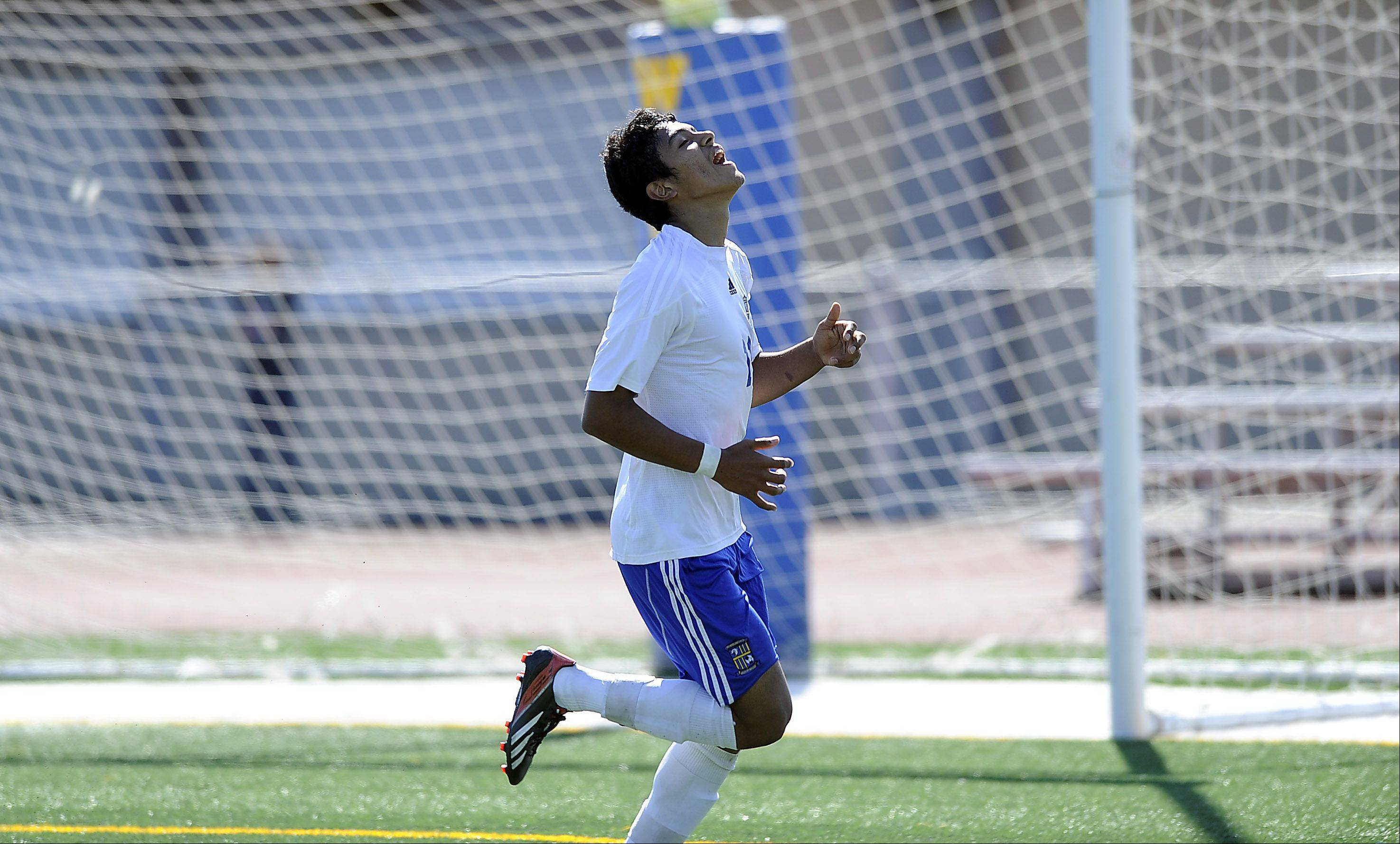 Wheeling's Luis Herrera reacts after seeing his shot go to the left of the goal in action against Jacobs at Wheeling on Saturday.