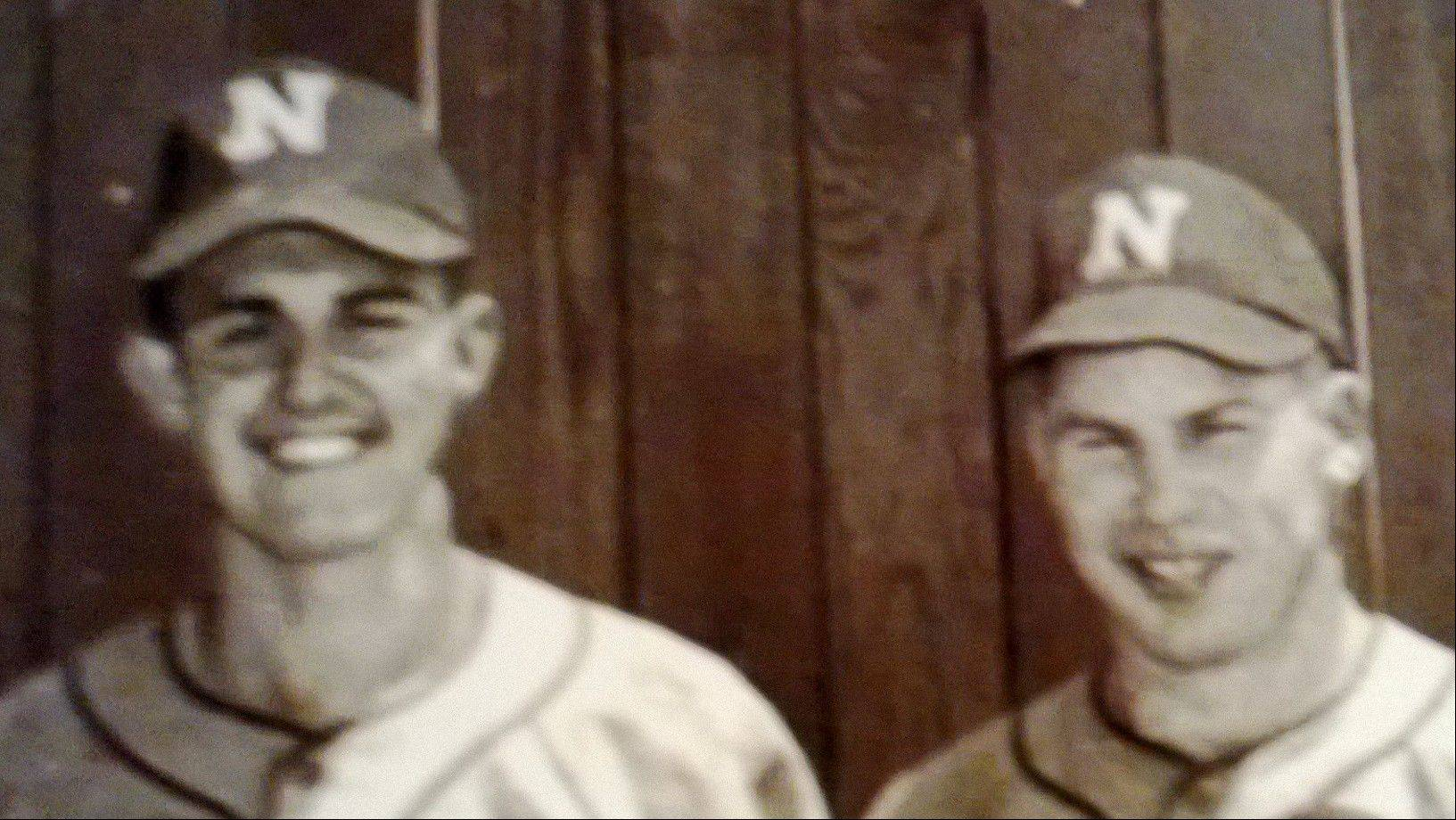 Former Lake County coaches Larry Leon, left, and Bill Eiserman played on the Northern Illinois University baseball teams that won back-to-back conference championships in 1950-51.