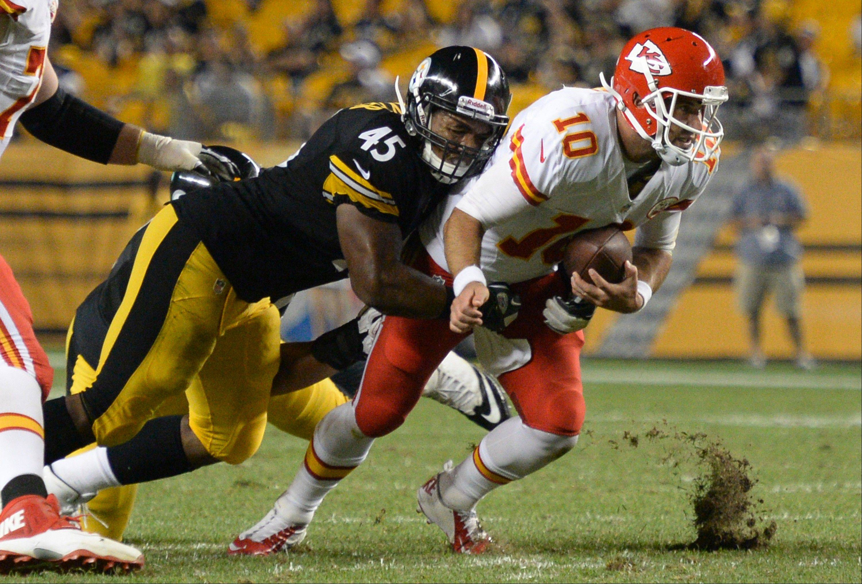 Pittsburgh Steelers linebacker Alan Baxter (45) had two sacks in the NFL preseason against Kansas City. The former Buffalo Grove standout is now on the team's practice squad.