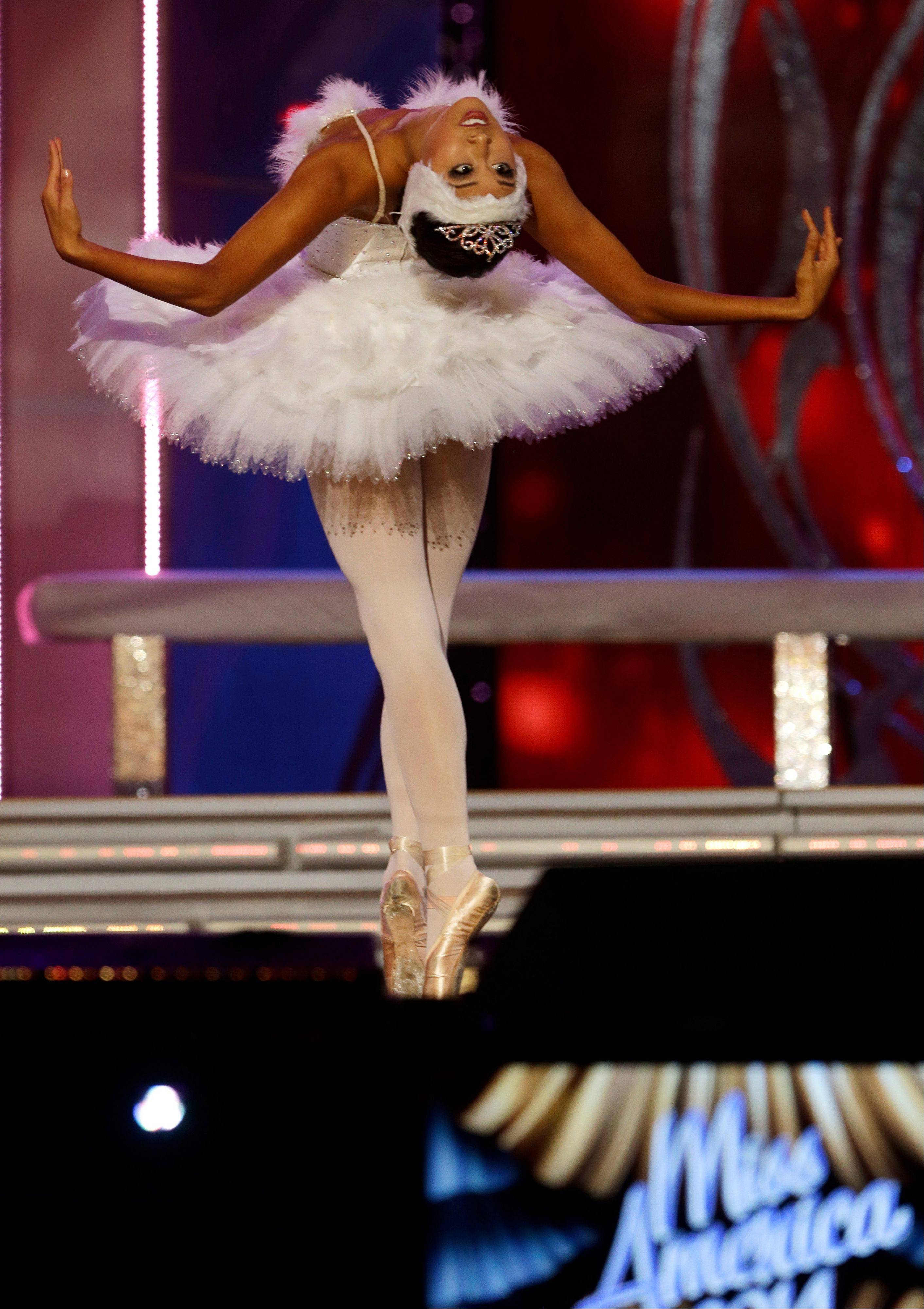 Miss California Crystal Lee performs during the Miss America 2014 pageant, Sunday, Sept. 15, 2013, in Atlantic City, N.J.