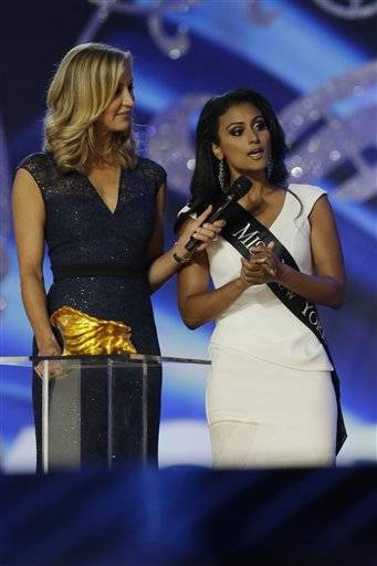 Miss New York Nina Davuluri answers a question during the Miss�America 2014 pageant, Sunday, Sept. 15, 2013, in Atlantic City, N.J.