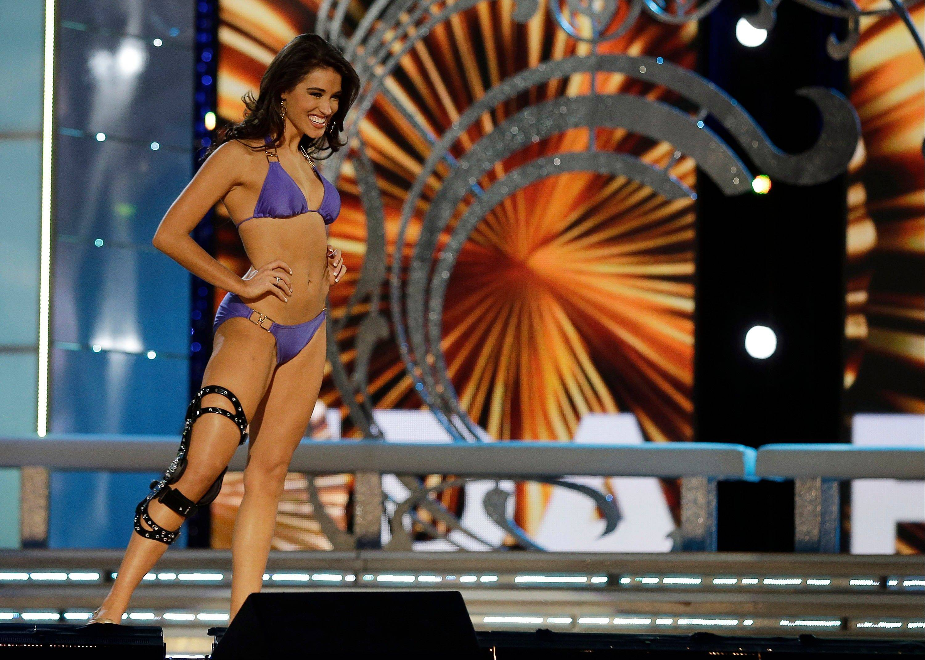 Miss Florida Myrrhanda Jones wears a swimsuit during the lifestyle competition during the Miss America 2014 pageant, Sunday, Sept. 15, 2013, in Atlantic City, N.J.