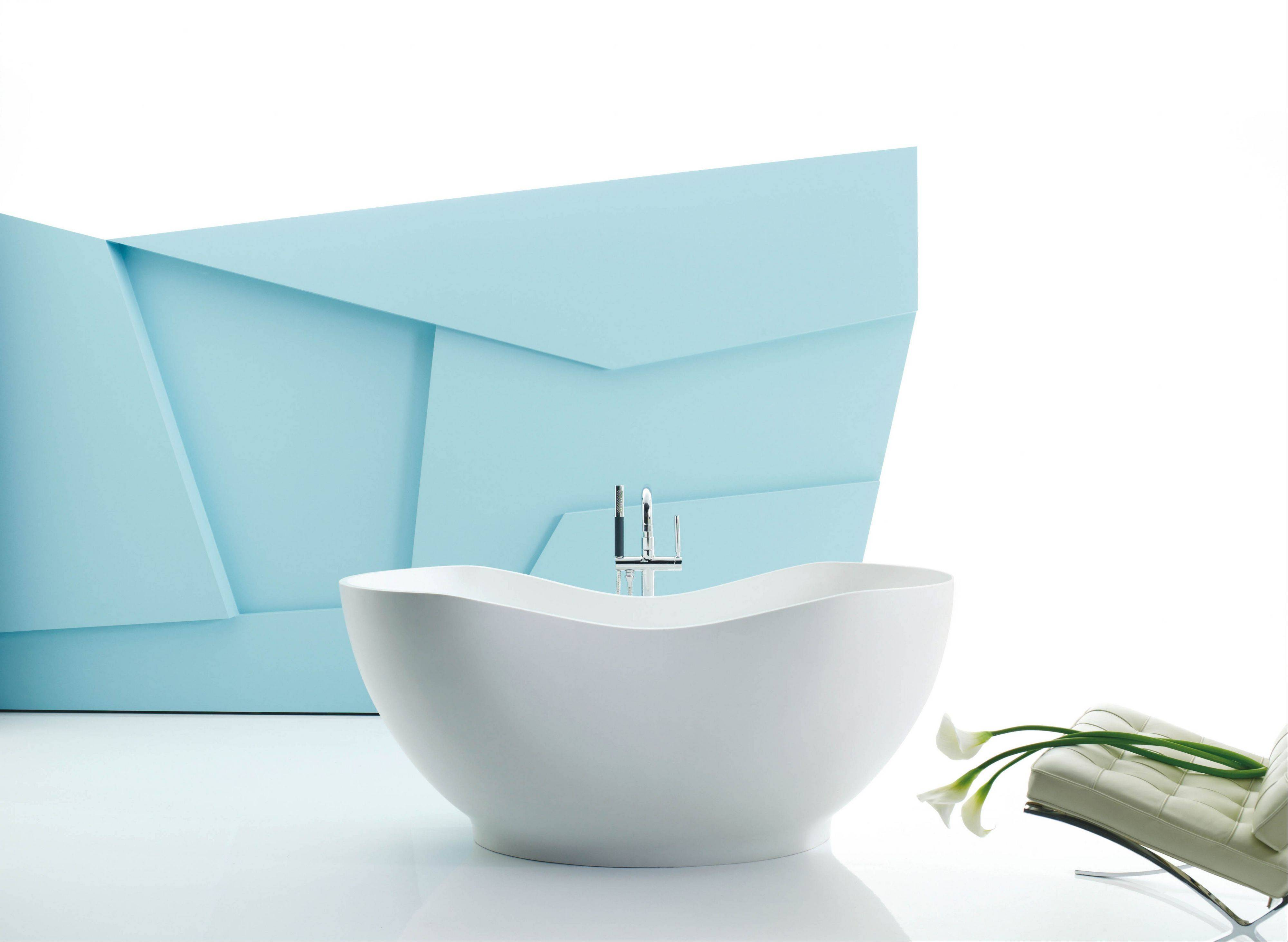 Free-standing baths are self-supporting bath tubs that are finished on all sides with no need to add wood framing.