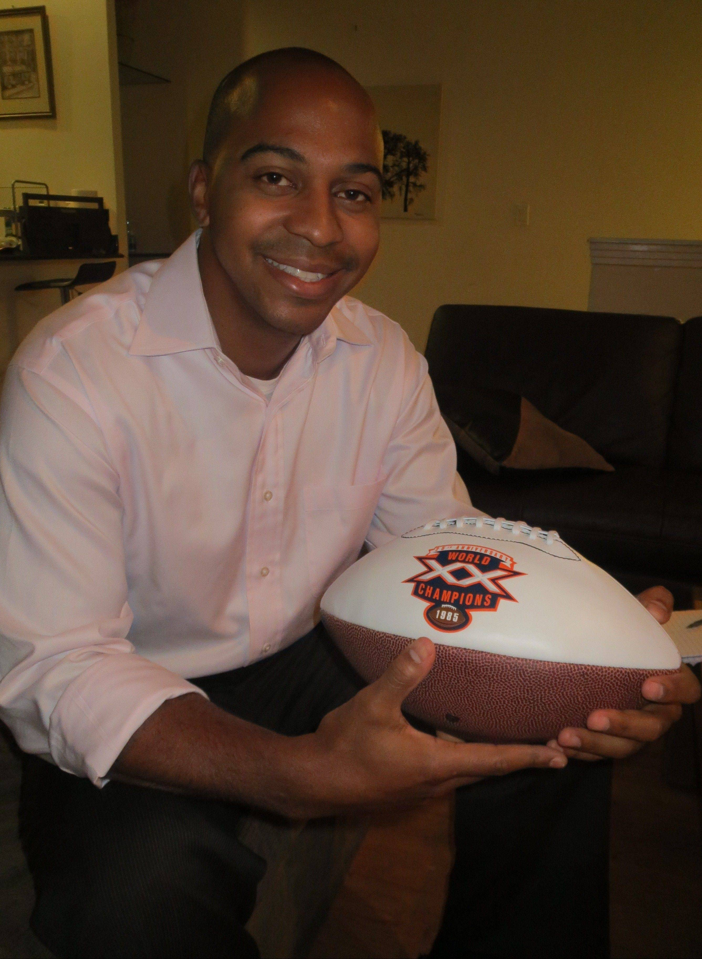 Born near the start of the glorious 1985 NFL season that saw the Chicago Bears roll to a Super Bowl title, Tregg Duerson has few memories of his dad's illustrious football career. But he does have this Super Bowl XX commemorative football and other memorabilia from Dave Duerson's playing days.