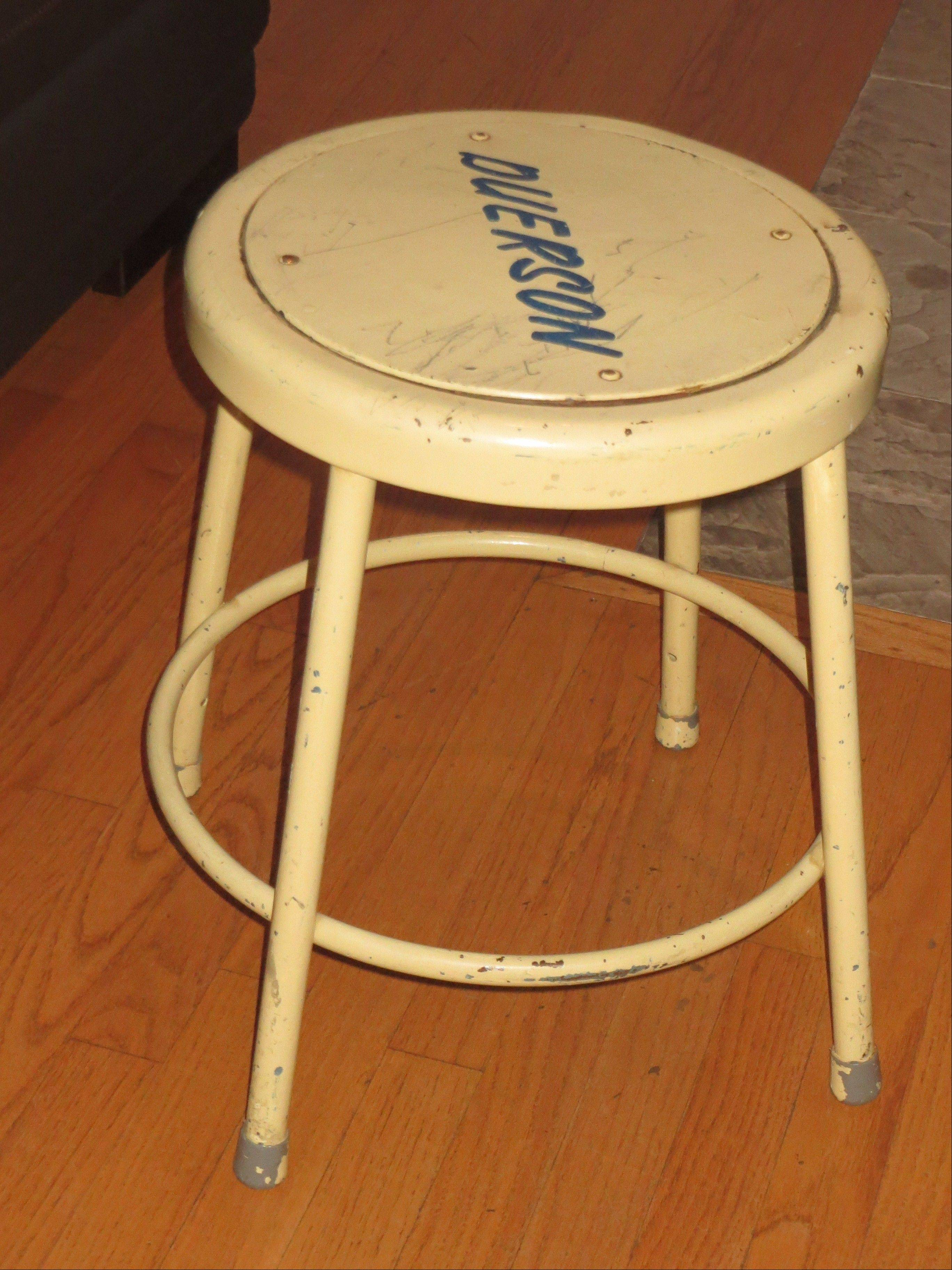 A constant reminder of Dave Duerson, this stool from the Notre Dame locker room remains in frequent use in the apartment Tregg Duerson shares with his two roommates.