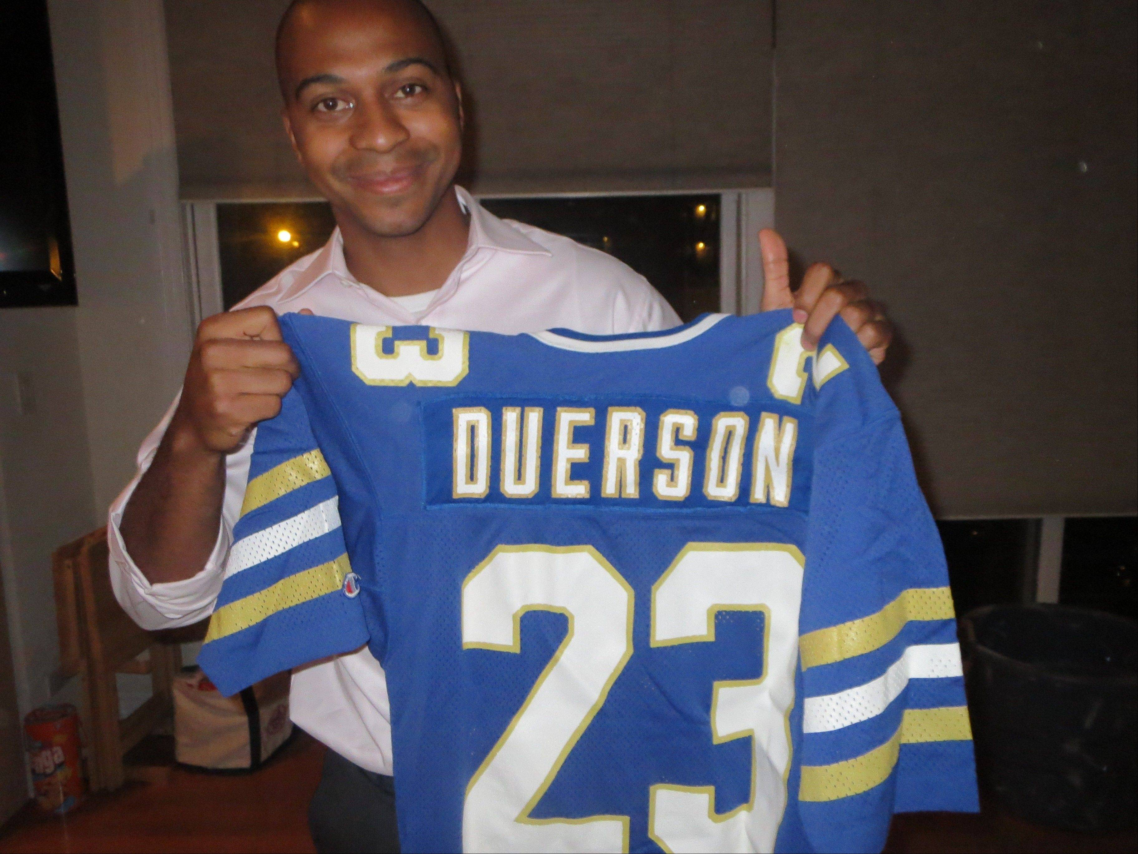 Wearing No. 23 in college, Dave Duerson was a star for the University of Notre Dame football team before switching to No. 22 and becoming an All-Pro safety with the Chicago Bears. Son Tregg Duerson started his college football career at Notre Dame, but notes that he didn't blossom as a student until he gave up football.
