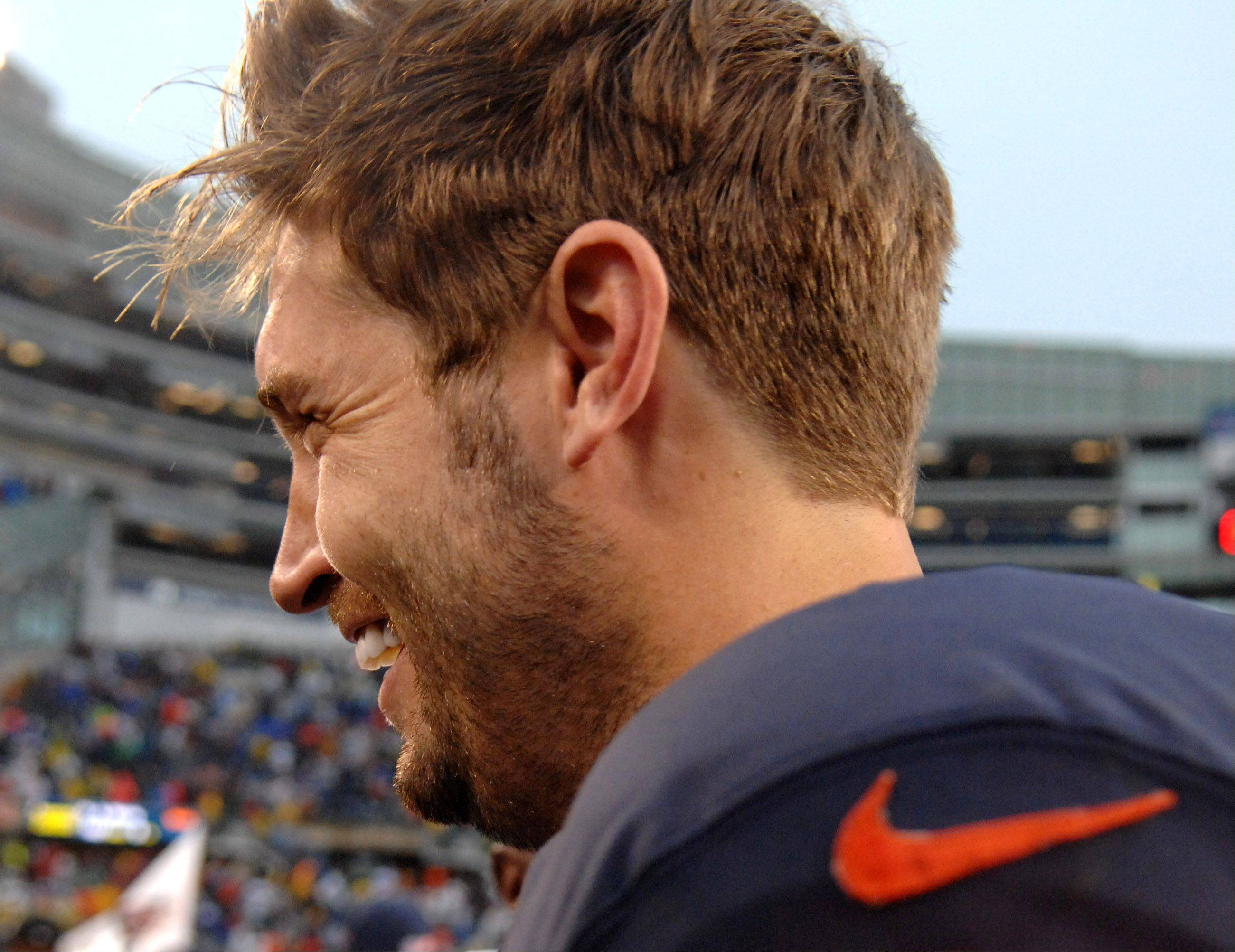 Chicago Bears quarterback Jay Cutler (6) is all smiles after Sunday's win over Minnesota at Soldier Field in Chicago.
