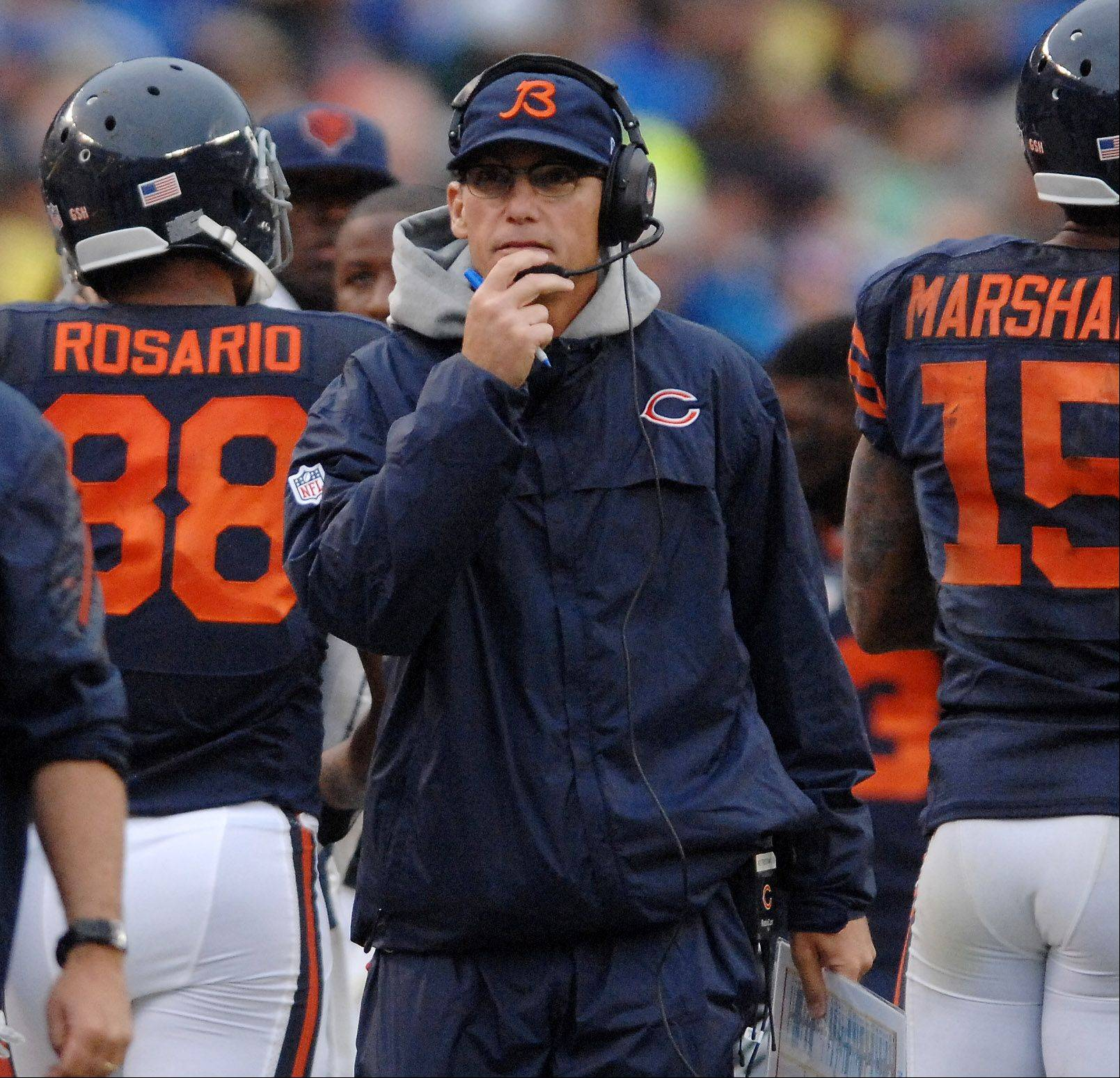 Chicago Bears head coach Marc Trestman walks the sideline during the fourth quarter of Sunday's game against Minnesota at Soldier Field in Chicago.