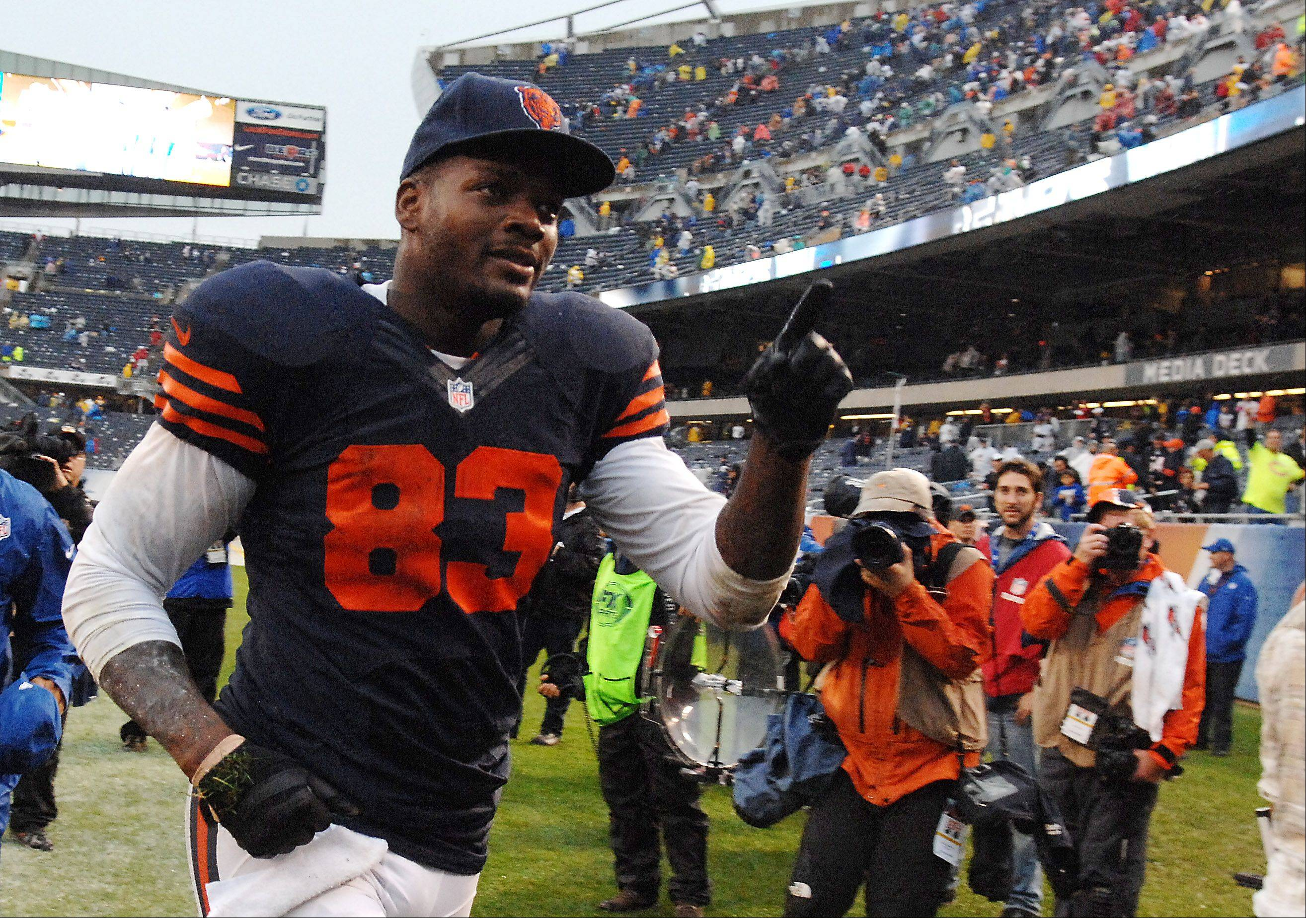 Chicago Bears tight end Martellus Bennett (83) runs off the field after catching the game-winning touchdown pass during Sunday's game at Soldier Field in Chicago.