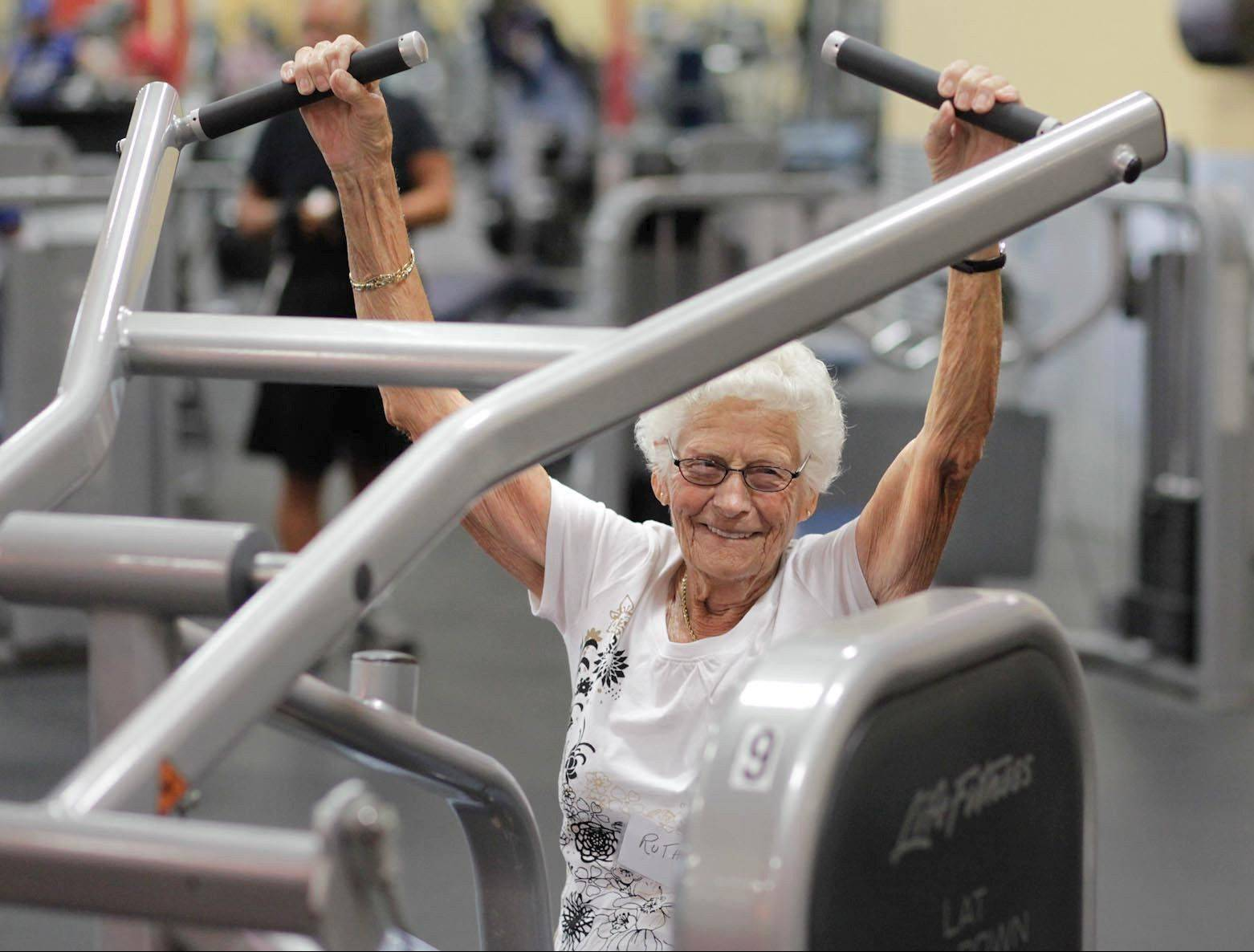 Ruth Myers, 99, makes a point to exercise nearly every day.