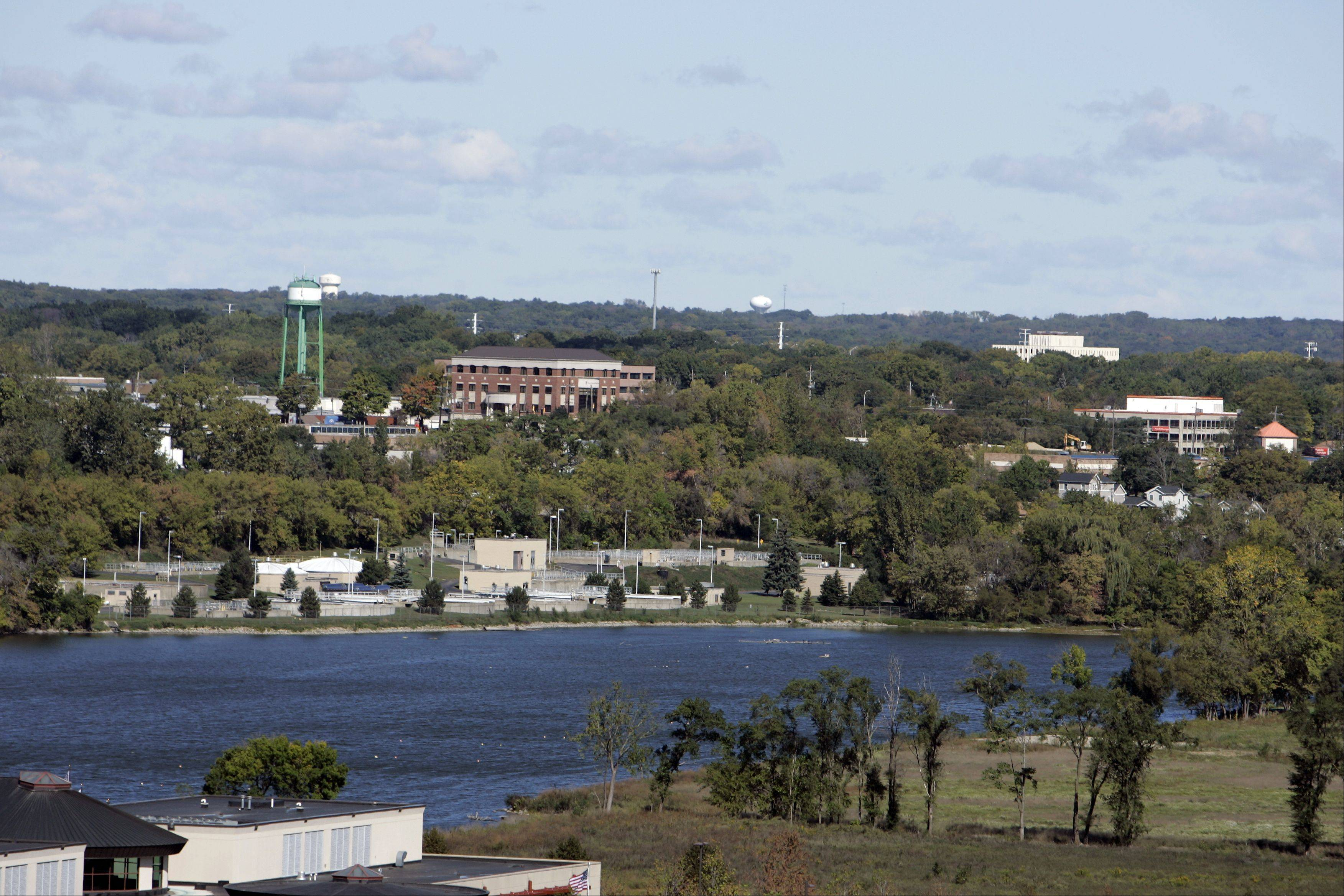 A view of Elgin�s riverfront today, looking north along the Fox River from downtown.