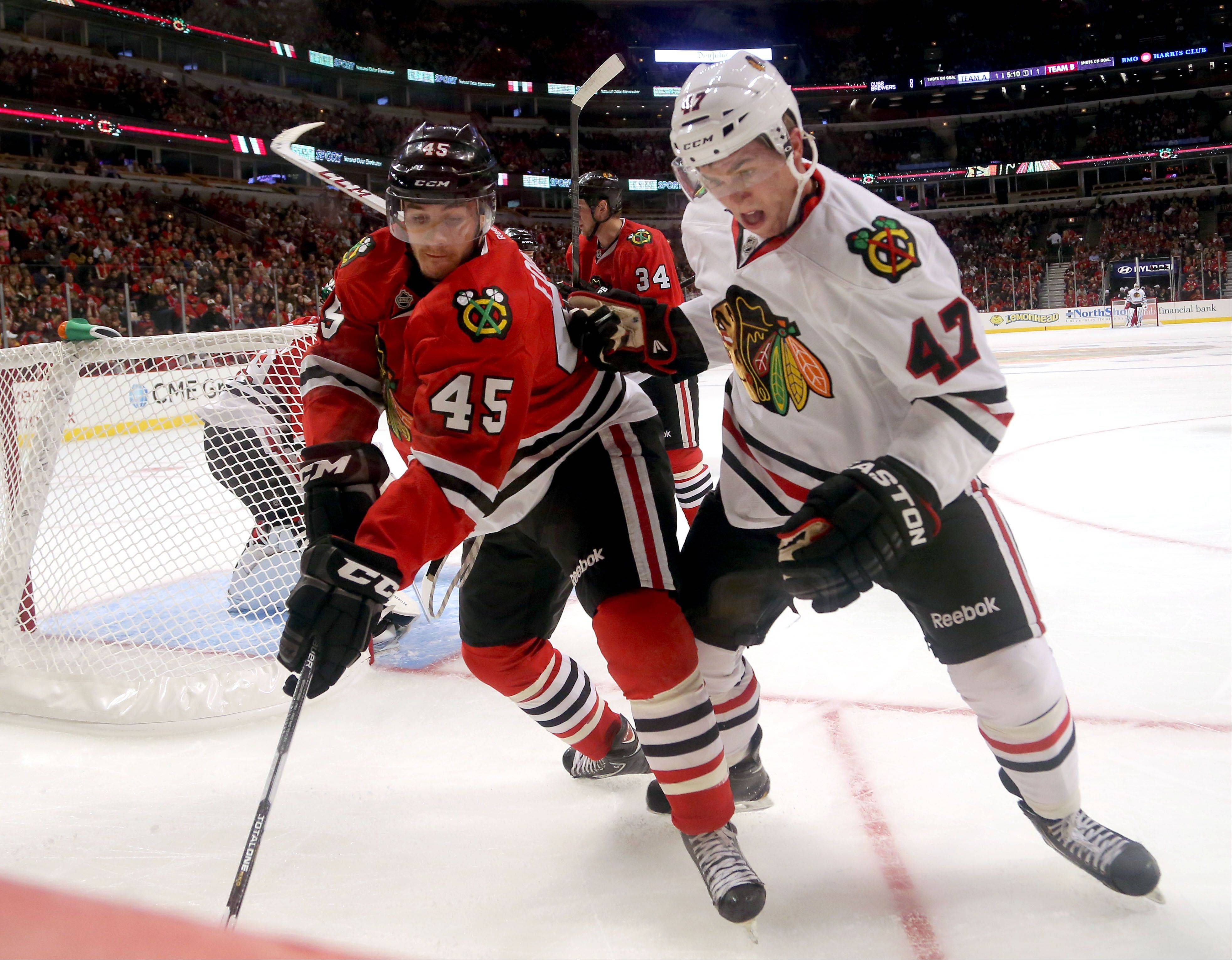 Steve Lundy/slundy@dailyherald.com Dillon Fornier, left, and Pat Mullane battle for the puck during the Blackhawks' annual Training Camp Festival Monday at the United Center in Chicago.